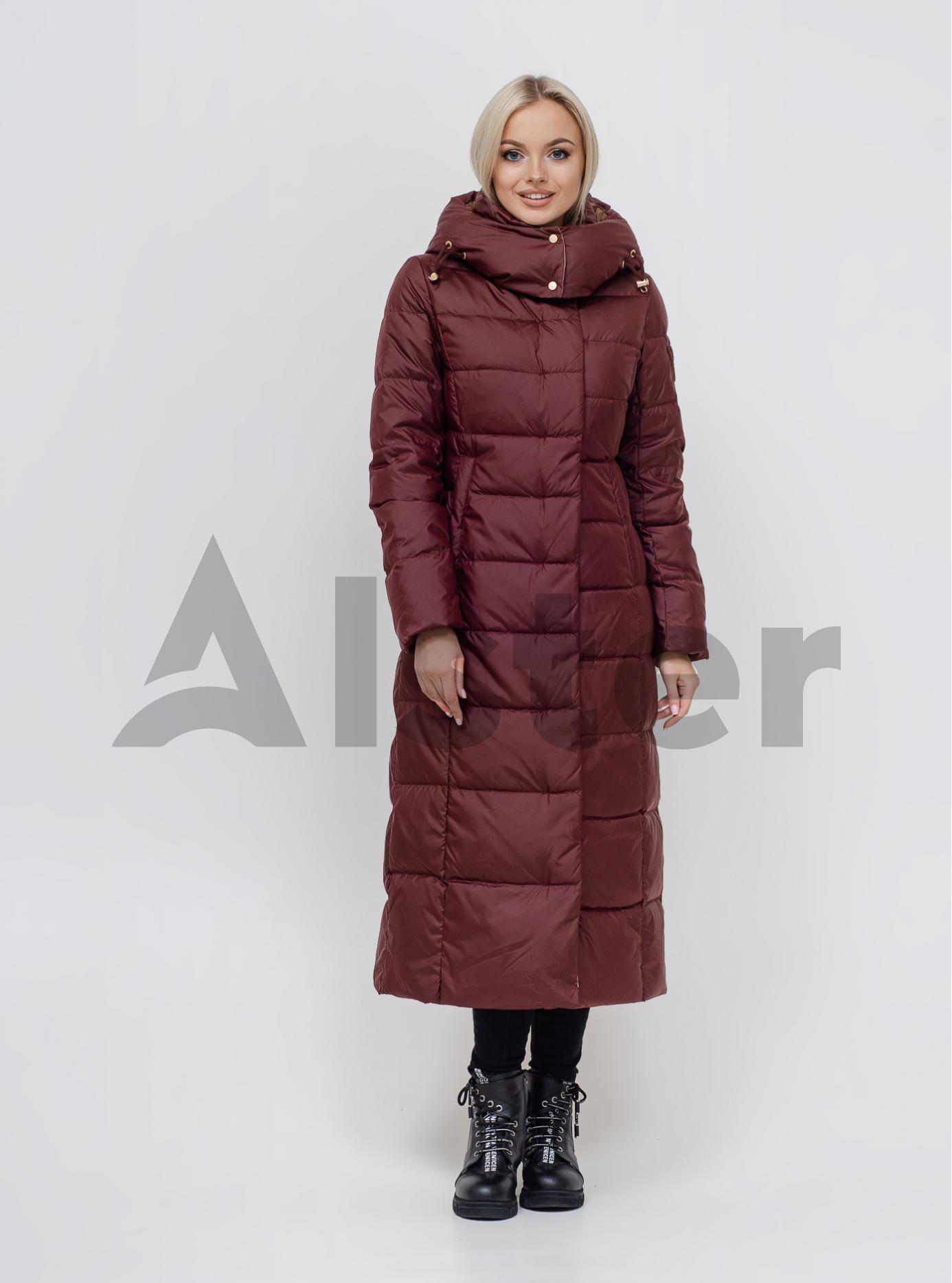 Пуховик зимовий довгий з поясом CLASNA CW21D255DW Бордовий S (01-N200534): фото - Alster.ua