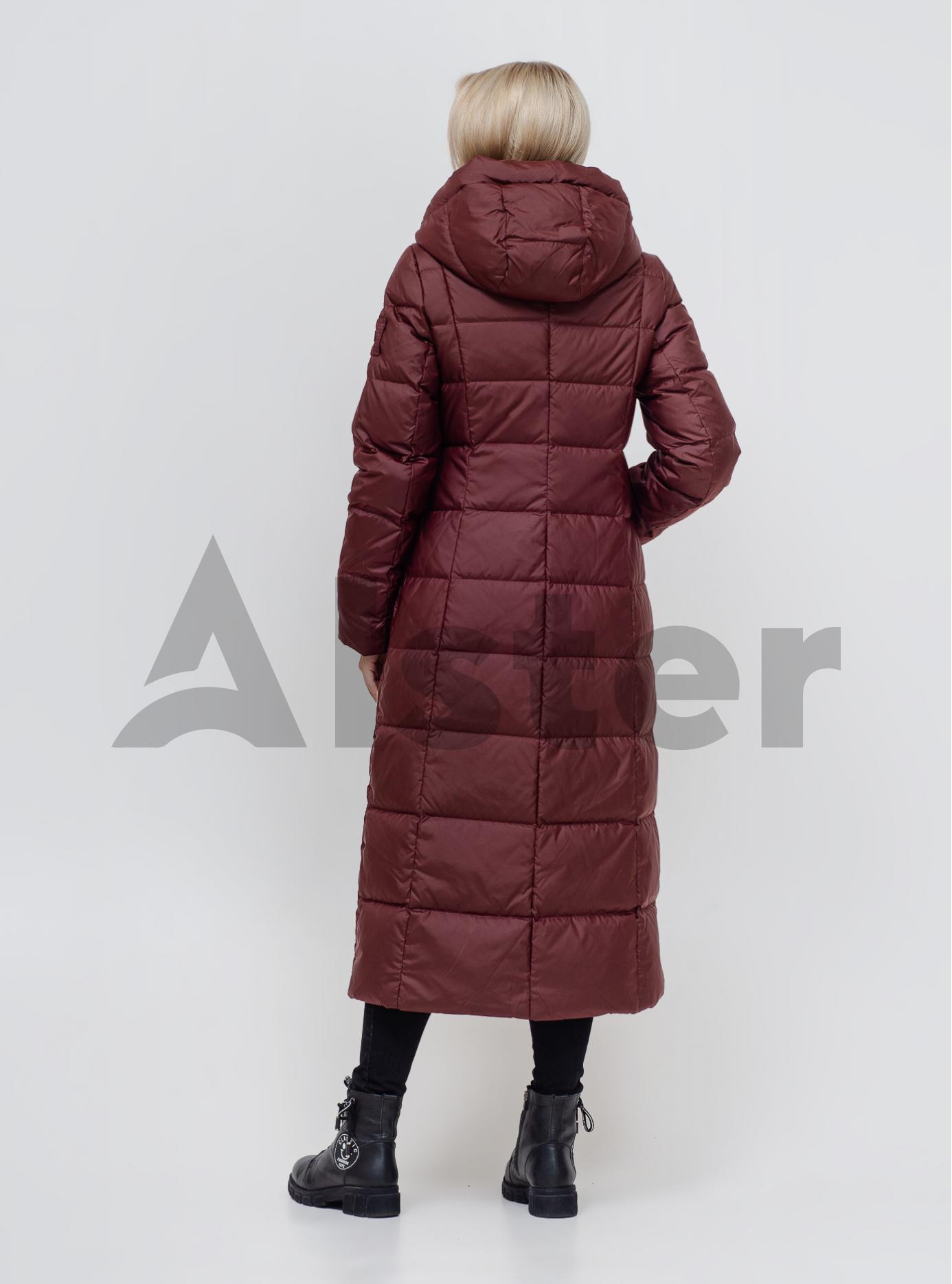 Пуховик зимовий довгий з поясом Бордовий S (01-N200534): фото - Alster.ua