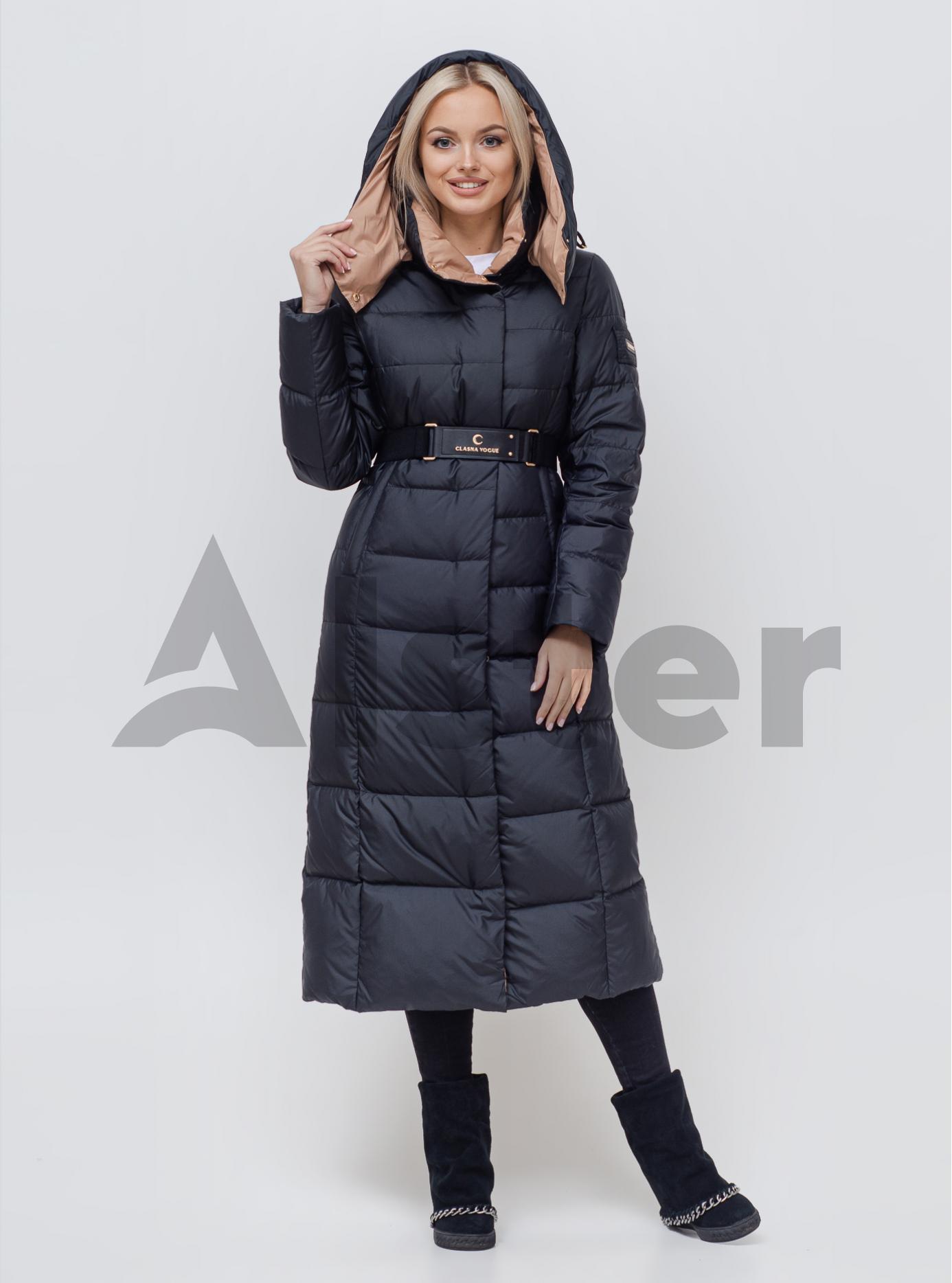 Пуховик зимний длинный с поясом Чёрный L (01-N200546): фото - Alster.ua