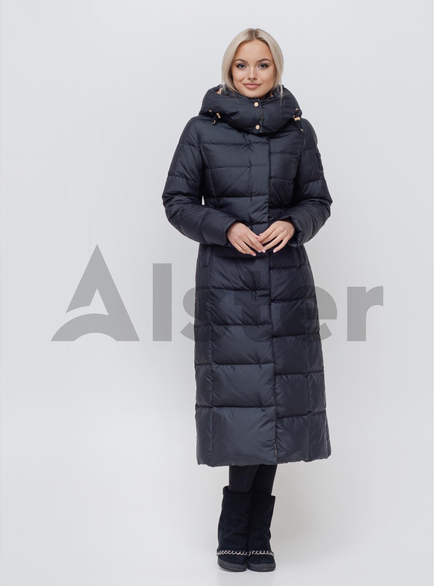 Пуховик зимний длинный с поясом Чёрный S (01-N200544): фото - Alster.ua