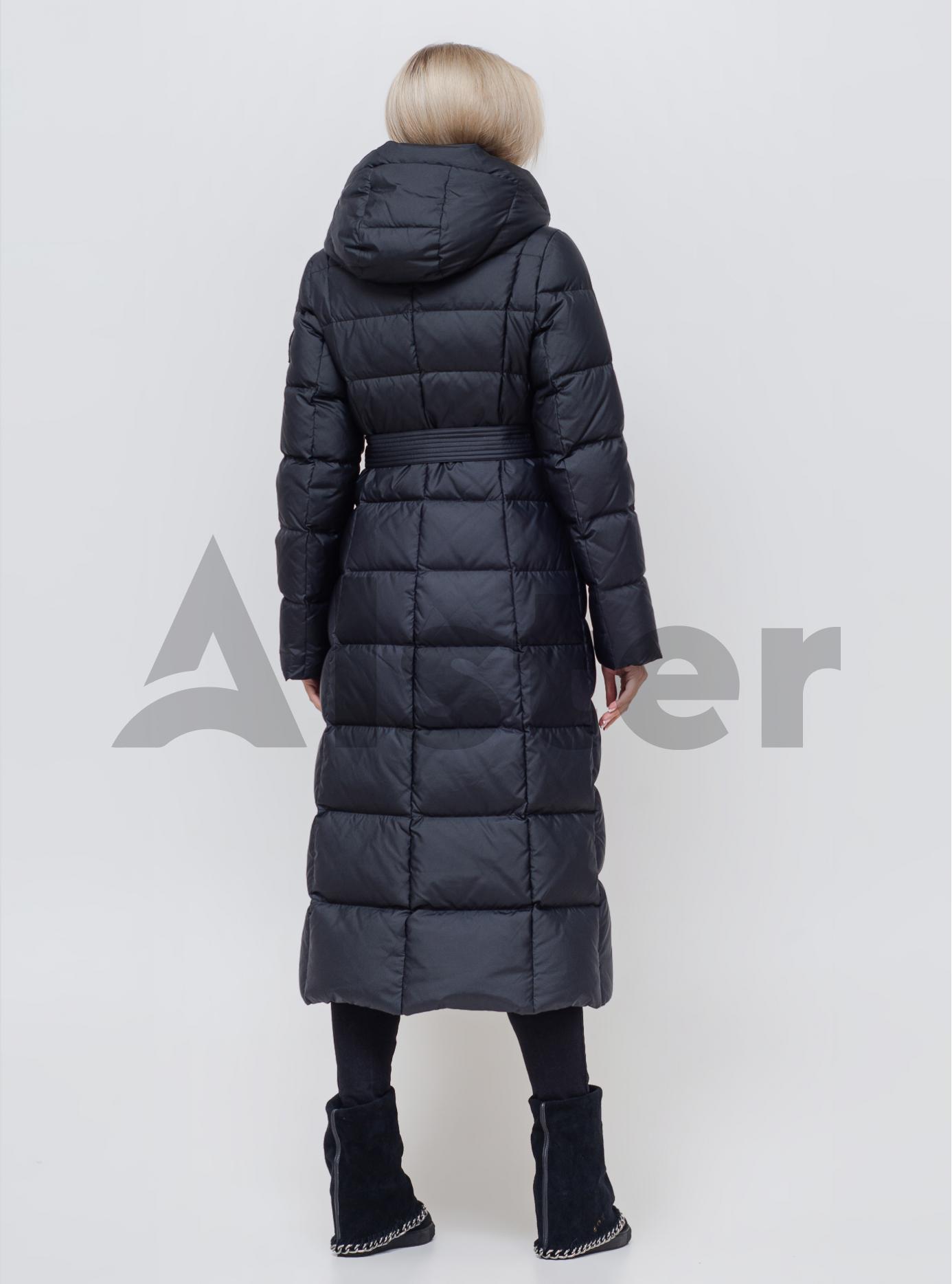 Пуховик зимовий довгий з поясом Чорний 2XL (01-N200548): фото - Alster.ua