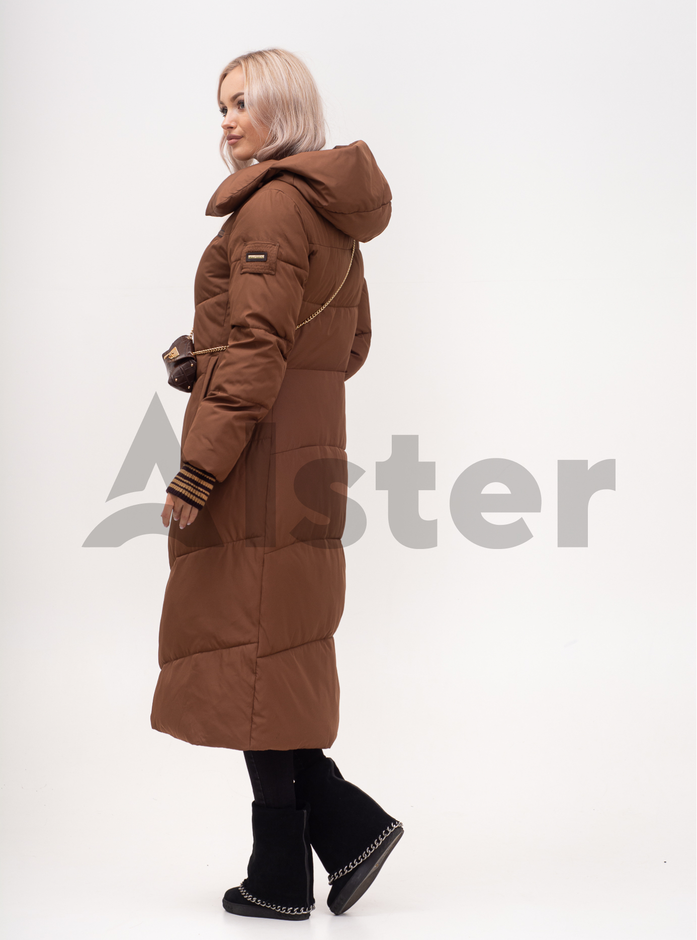 Куртка зимняя женская длинная с поясом Кофейный L (01-N200556): фото - Alster.ua
