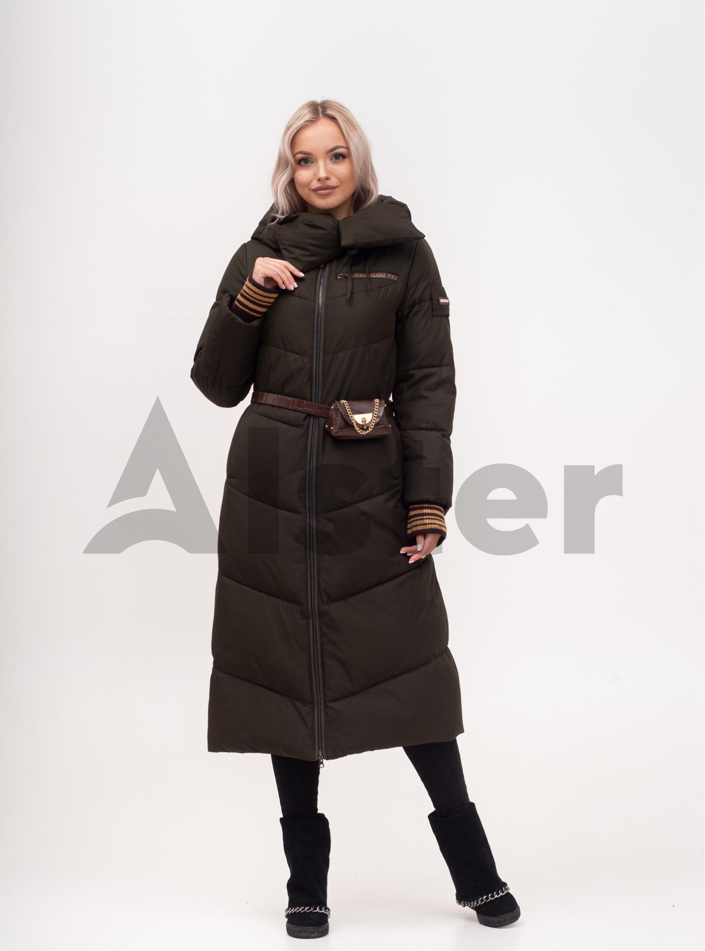 Куртка зимова жіноча довга з поясом Хакі S (01-N200559): фото - Alster.ua