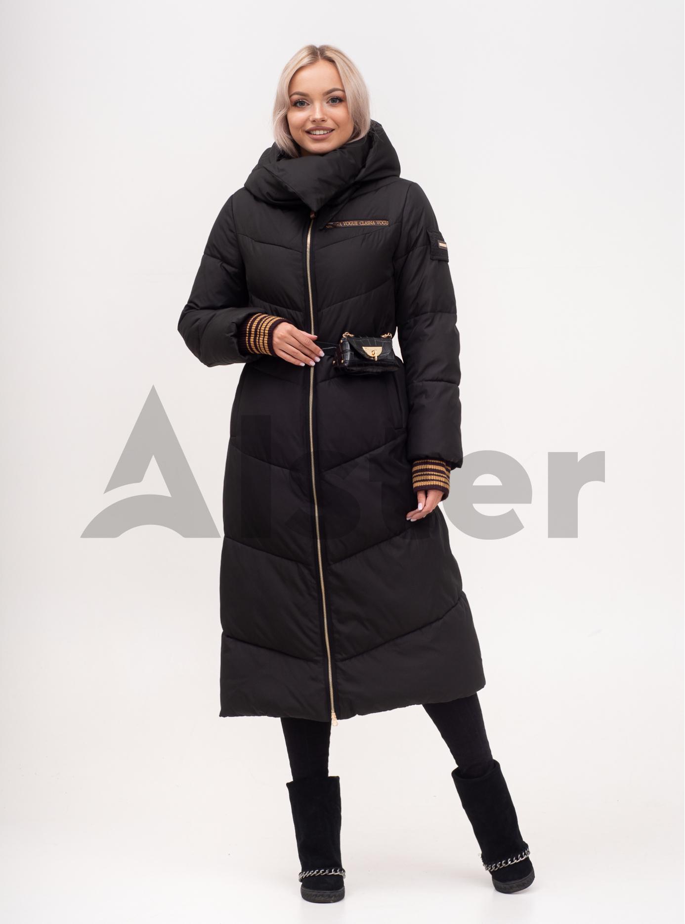 Куртка зимняя женская длинная с поясом Чёрный S (01-N200564): фото - Alster.ua