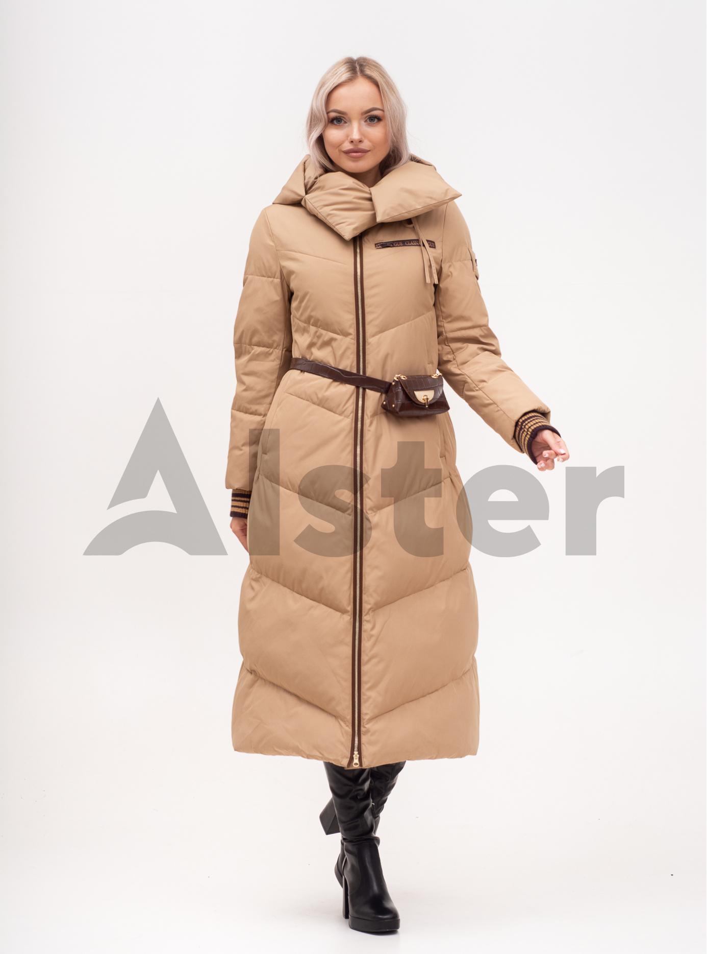 Куртка зимняя женская длинная с поясом Бежевый S (02-N200549): фото - Alster.ua
