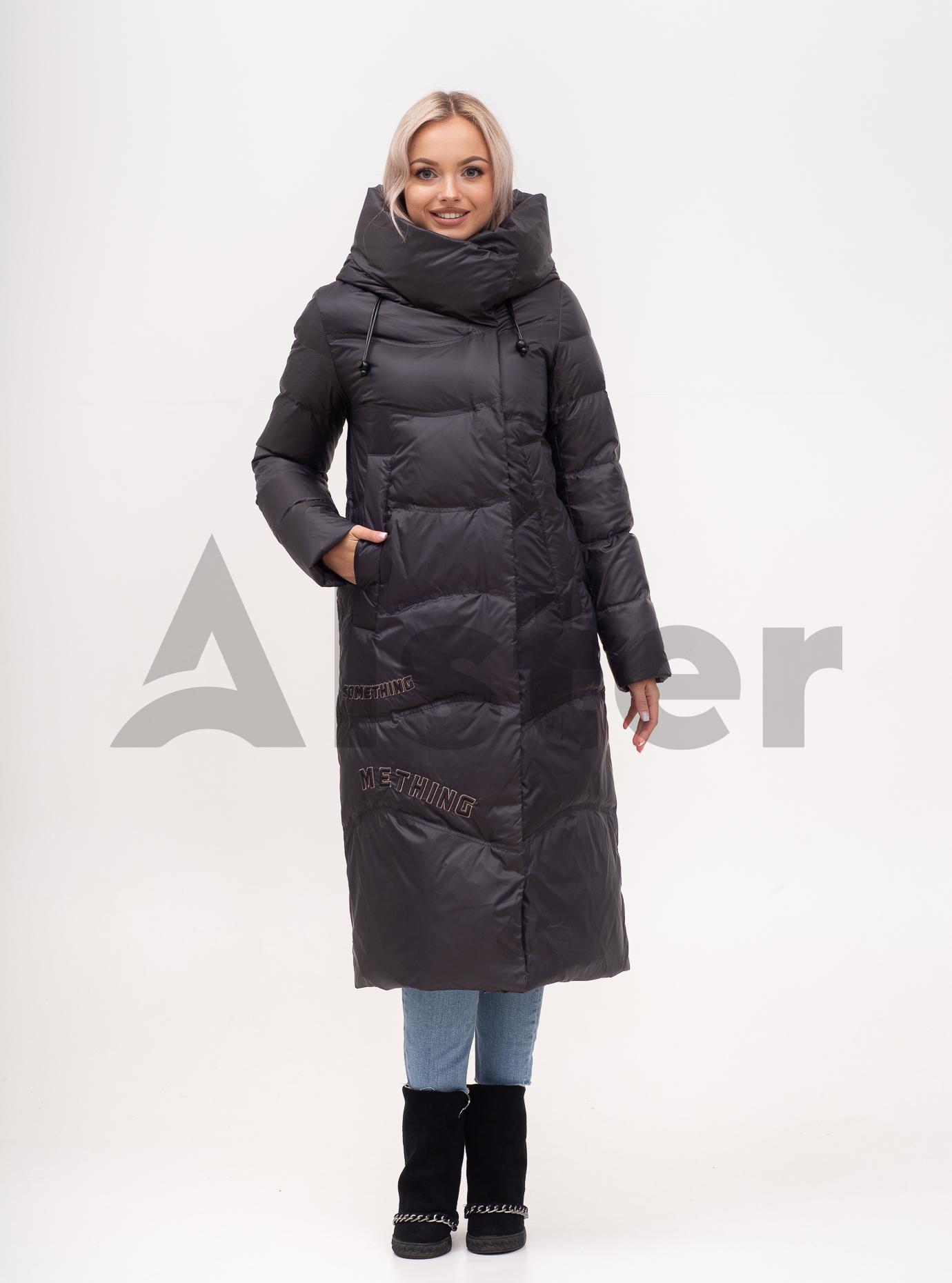 Пуховик зимовий довгий прямий Графітовий S (02-N200579): фото - Alster.ua