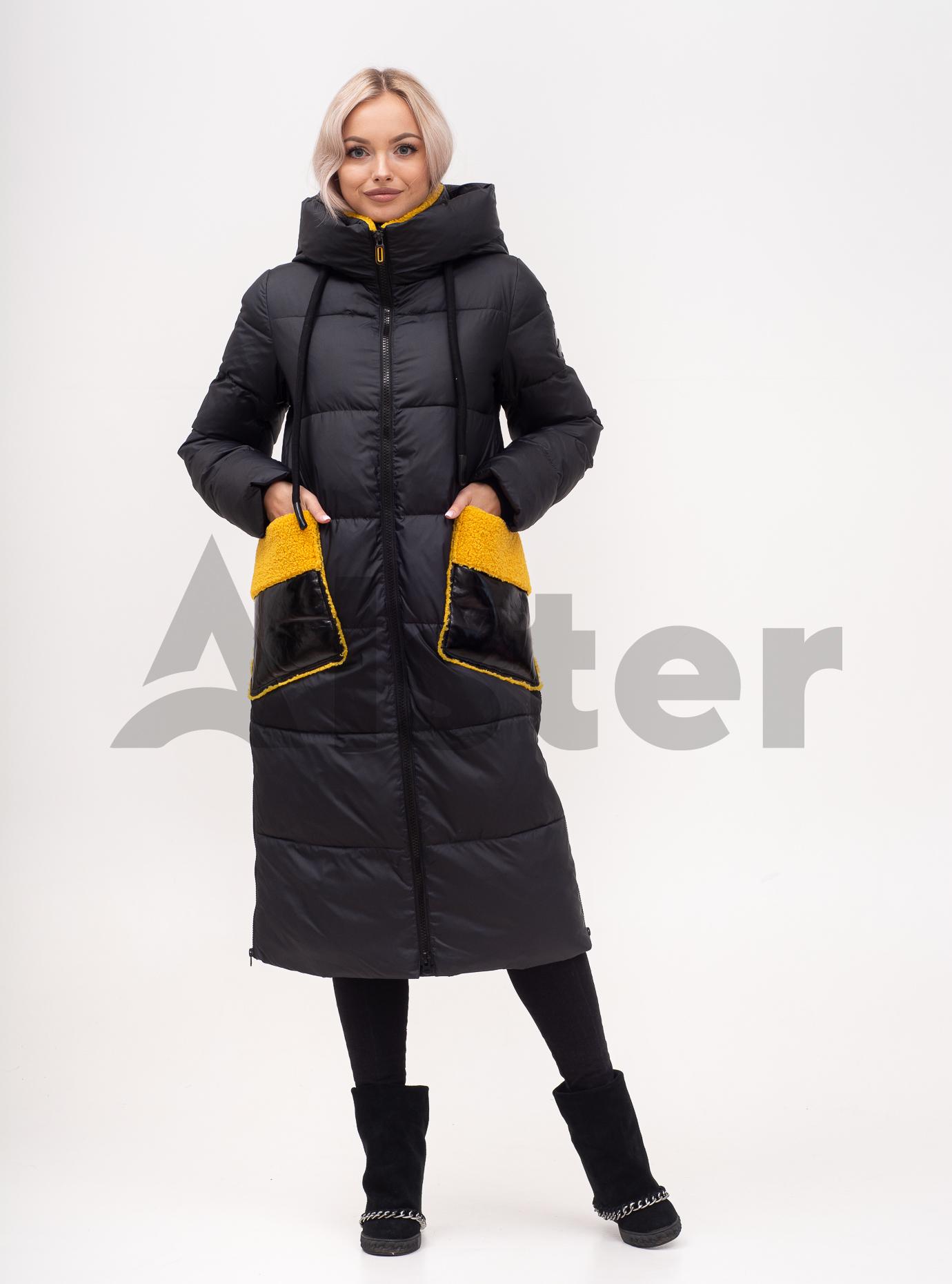 Куртка зимняя длинная с экомехом Чёрный S (01-N200574): фото - Alster.ua