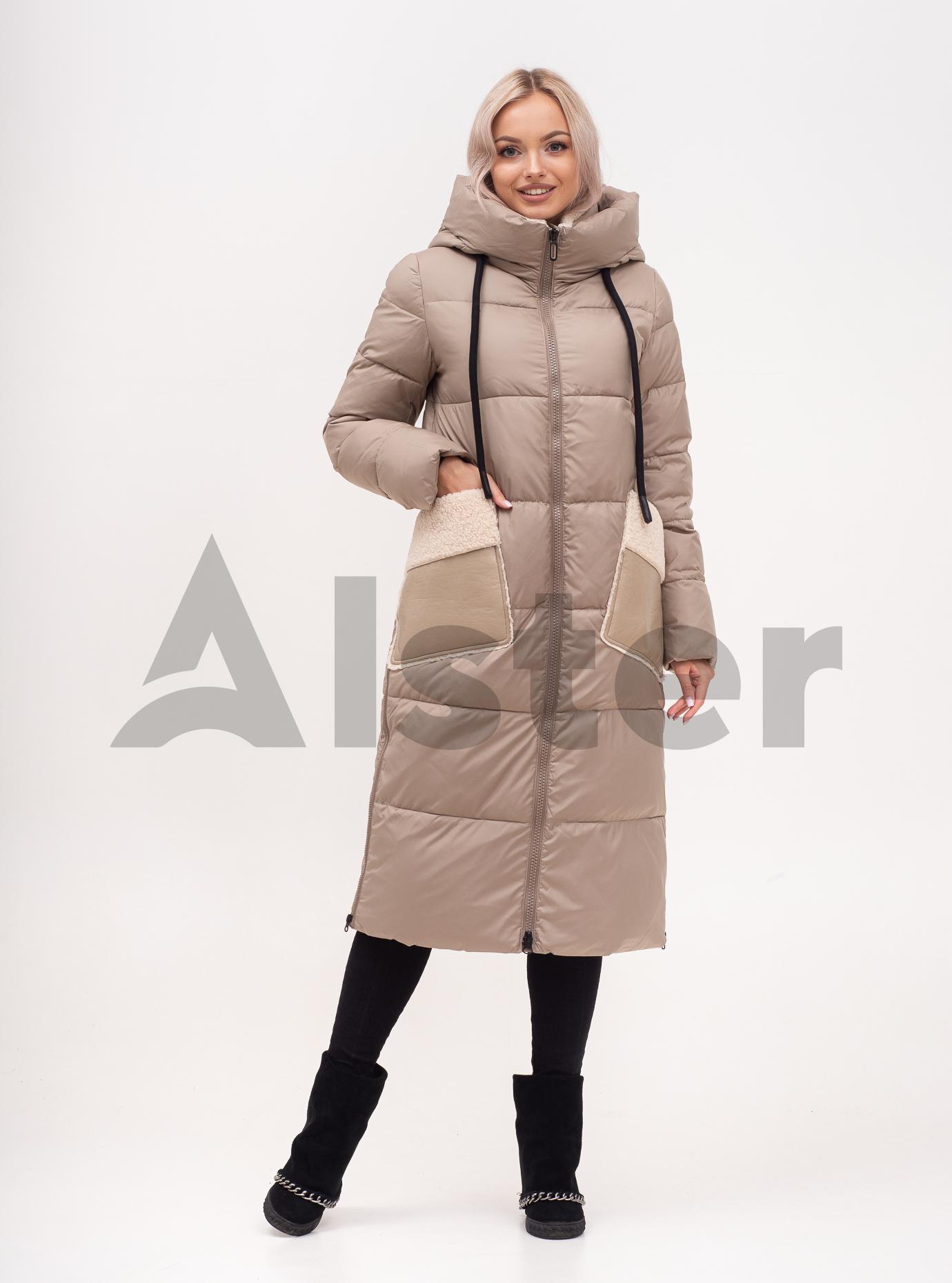 Куртка зимняя длинная с экомехом Бежевый S (02-N200569): фото - Alster.ua
