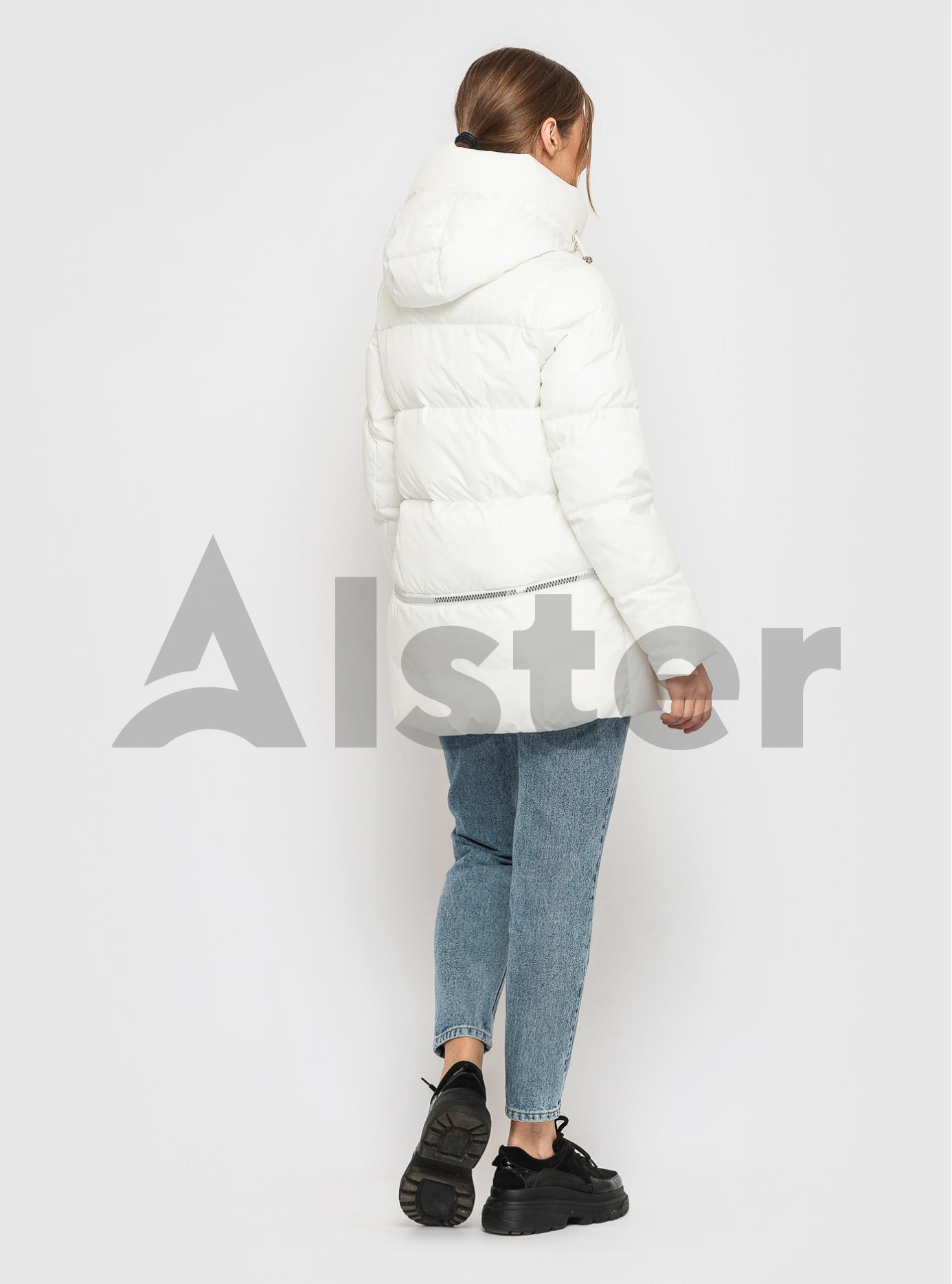 Жіноча зимова куртка із фастекс застібкою CLASNA Білий S (21D325CW-09): фото - Alster.ua