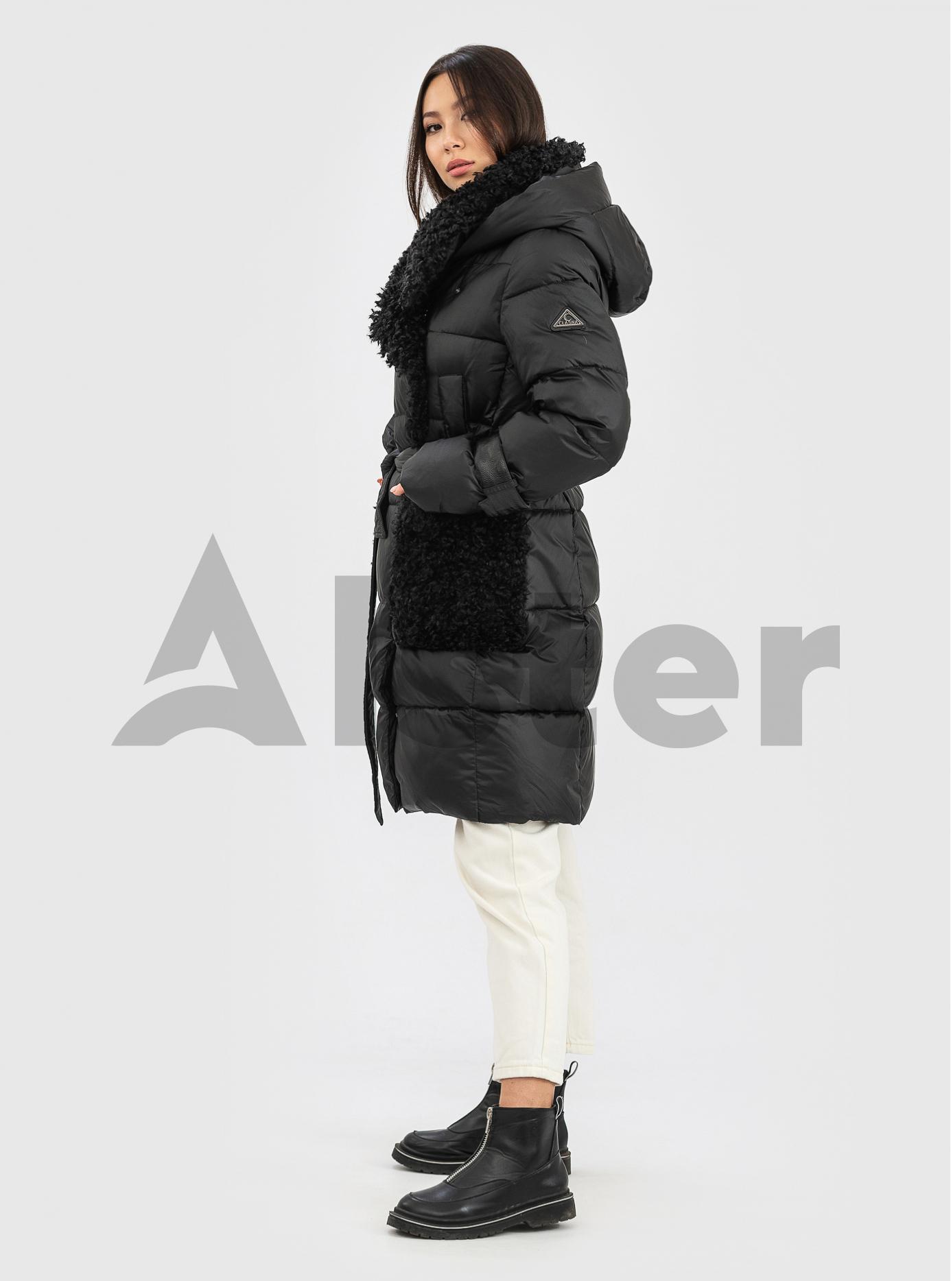 Жіночий пуховик з хутром на комірі CLASNA Чорний L (21D8226CQ-03): фото - Alster.ua