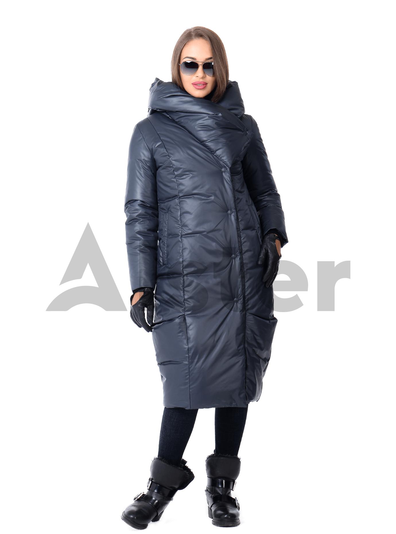 Зимняя куртка женская тёплый капюшон Синий 42 (02-KT190543): фото - Alster.ua