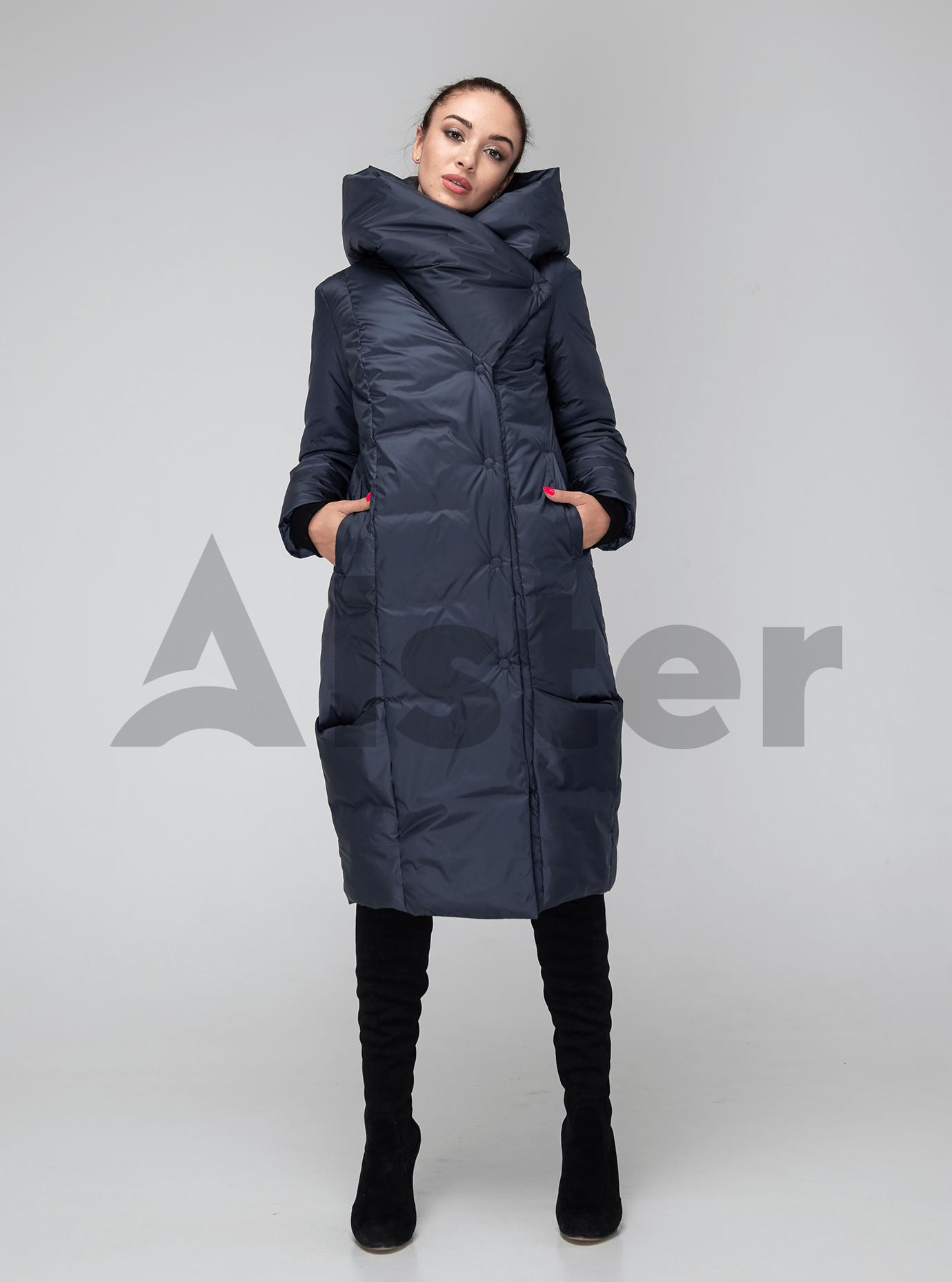 Жіноча куртка зимова капюшон з відворотом Графітовий 42 (02-KT190202): фото - Alster.ua