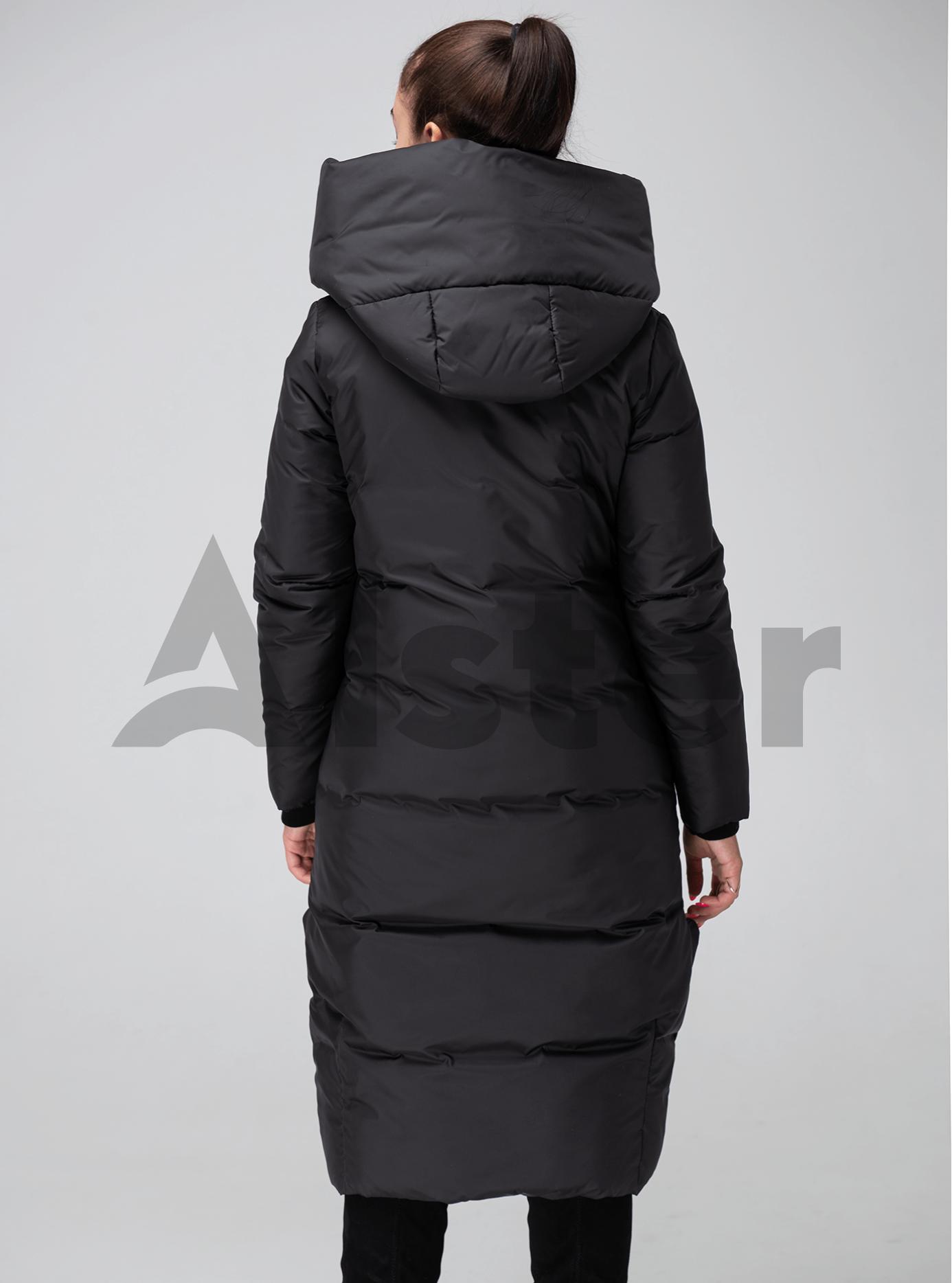 Жіноча куртка зимова капюшон з відворотом Чорний 46 (02-KT190209): фото - Alster.ua