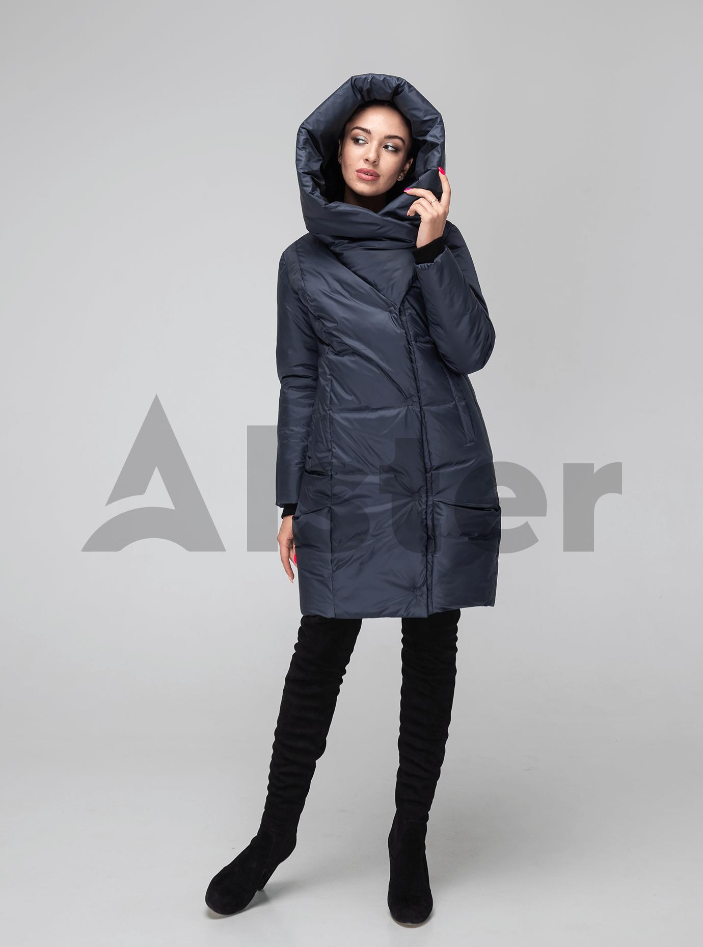 Женская куртка зимняя капюшон-хомут Тёмно-серый 42 (02-KT190229): фото - Alster.ua