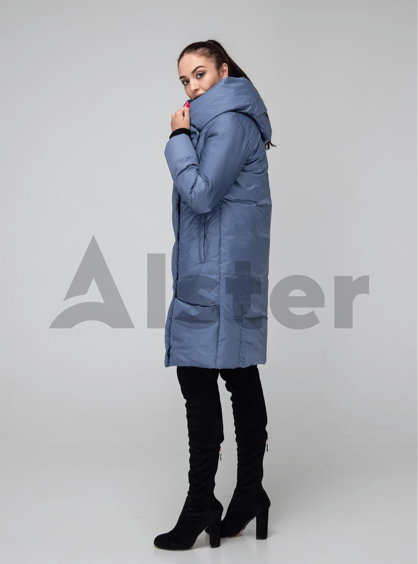 Женская куртка зимняя капюшон-хомут Серо-синий 42 (02-KT190221): фото - Alster.ua