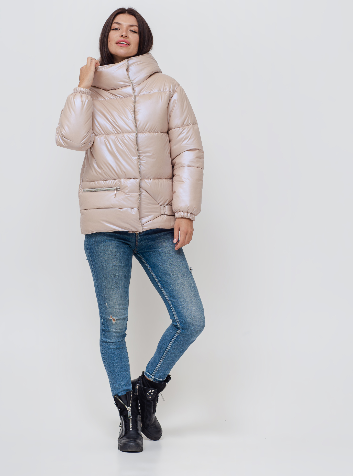 Жіноча зимова куртка Молочний 40 (02-KL201040): фото - Alster.ua