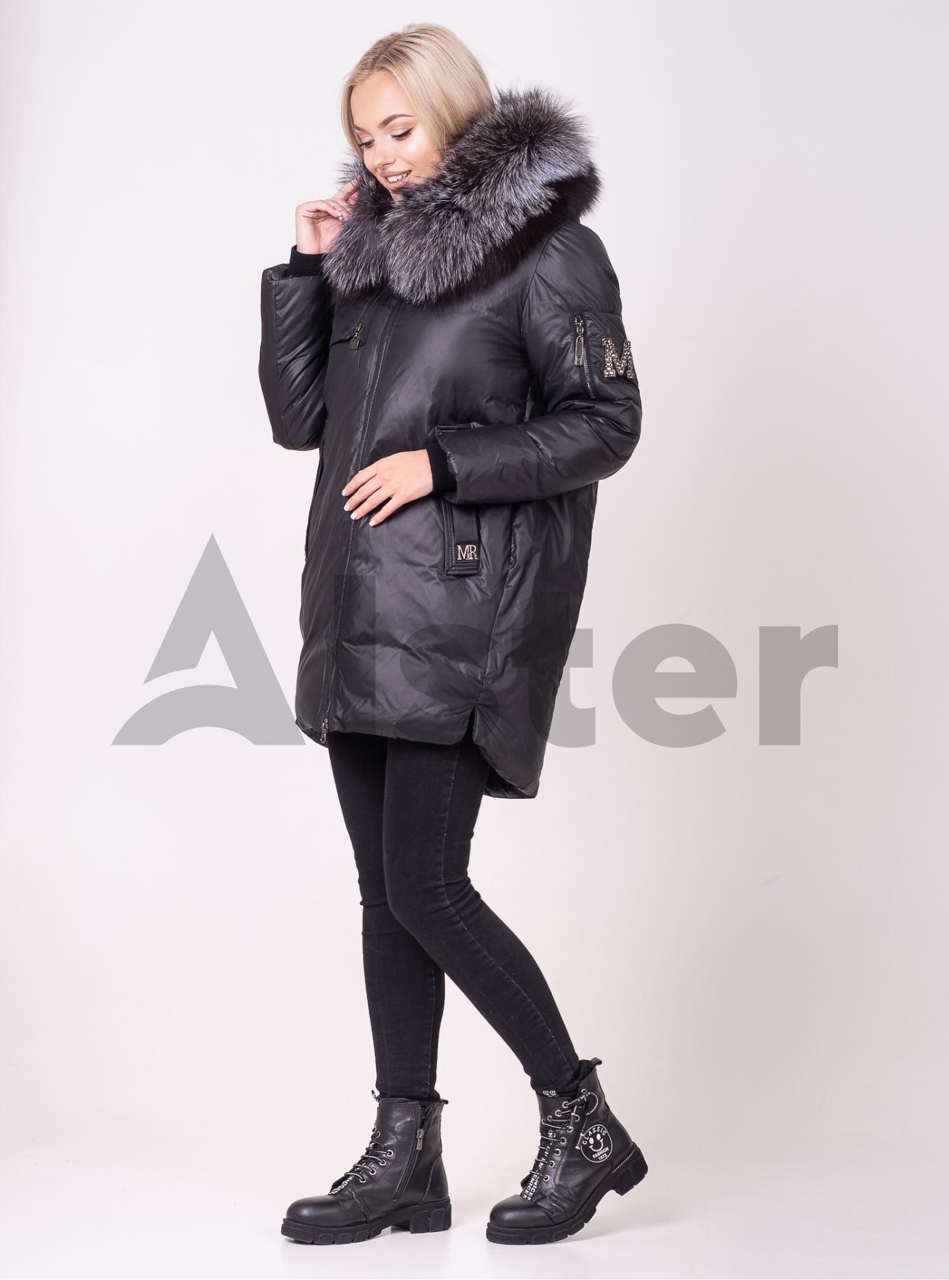 Женская зимняя куртка мехом чернобурки Чёрный L (01-210121): фото - Alster.ua