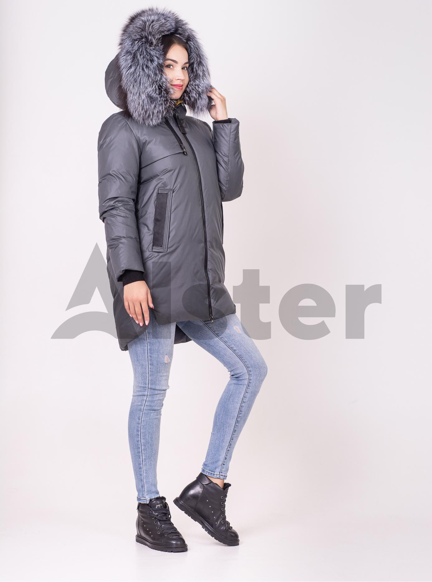 Женская зимняя куртка мехом чернобурки Изумрудный S (01-210129): фото - Alster.ua