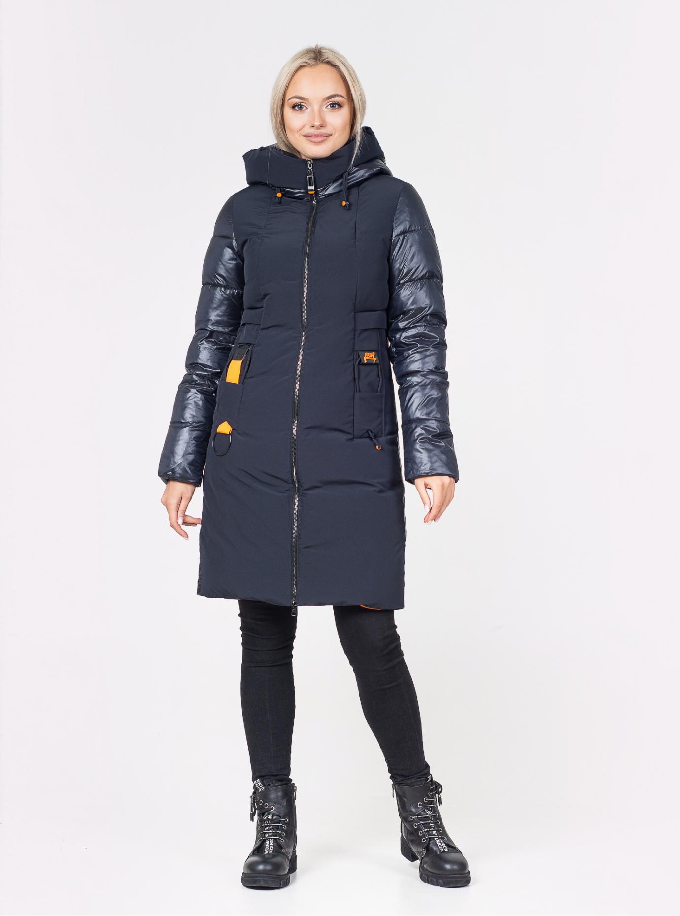 Куртка зимняя длинная прямого фасона Тёмно-синий S (07-VP201207): фото - Alster.ua