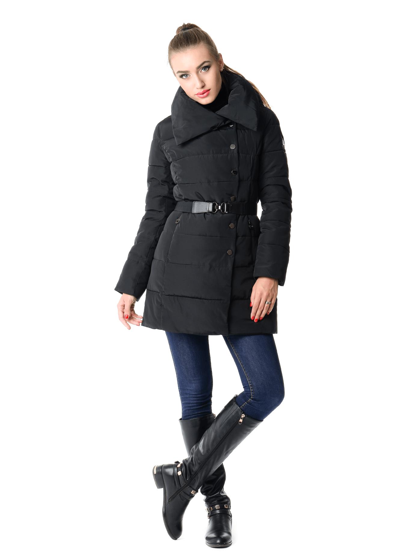 Куртка зимняя средней длины с поясом Чёрный M (02-SO19029): фото - Alster.ua