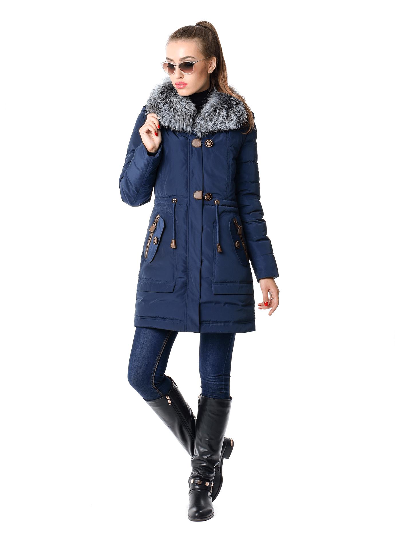 Куртка-парка зимняя с натуральным мехом Тёмно-синий S (02-SO19032): фото - Alster.ua