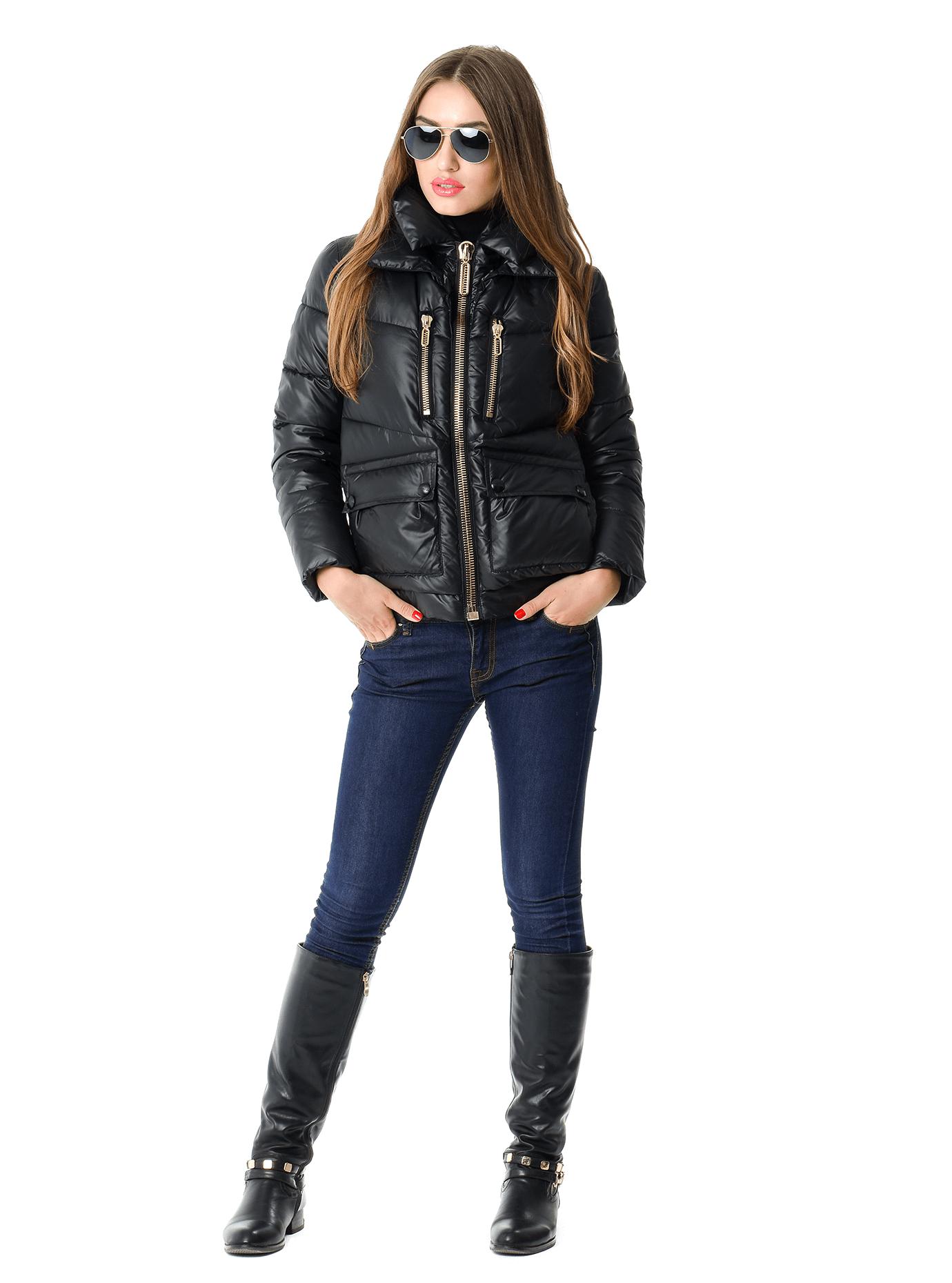 Куртка зимняя короткая с капюшоном Чёрный S (02-SO19036): фото - Alster.ua