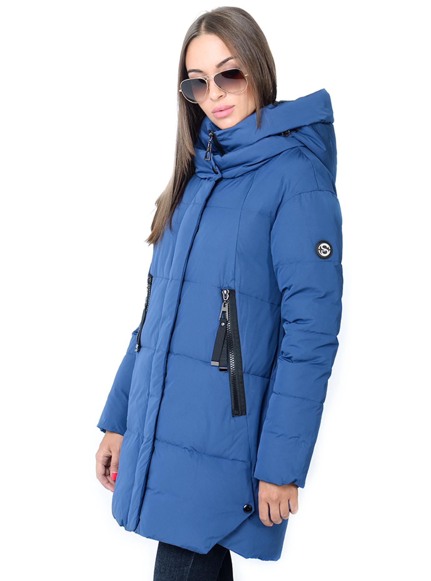 Куртка зимняя прямая с капюшоном Синий S (02-SO19033): фото - Alster.ua