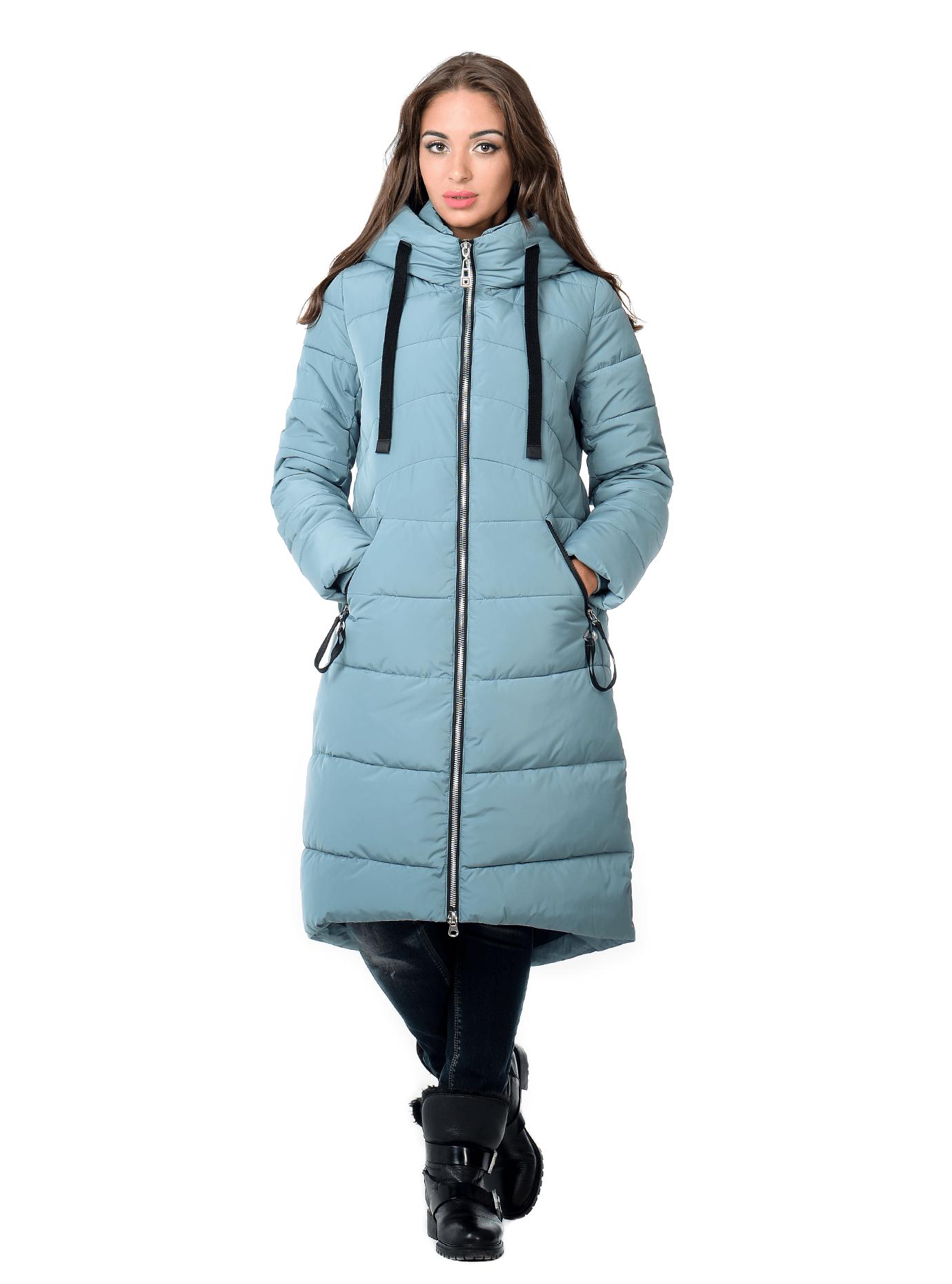 Куртка зимняя длинная с капюшоном Голубой S (02-SO19028): фото - Alster.ua