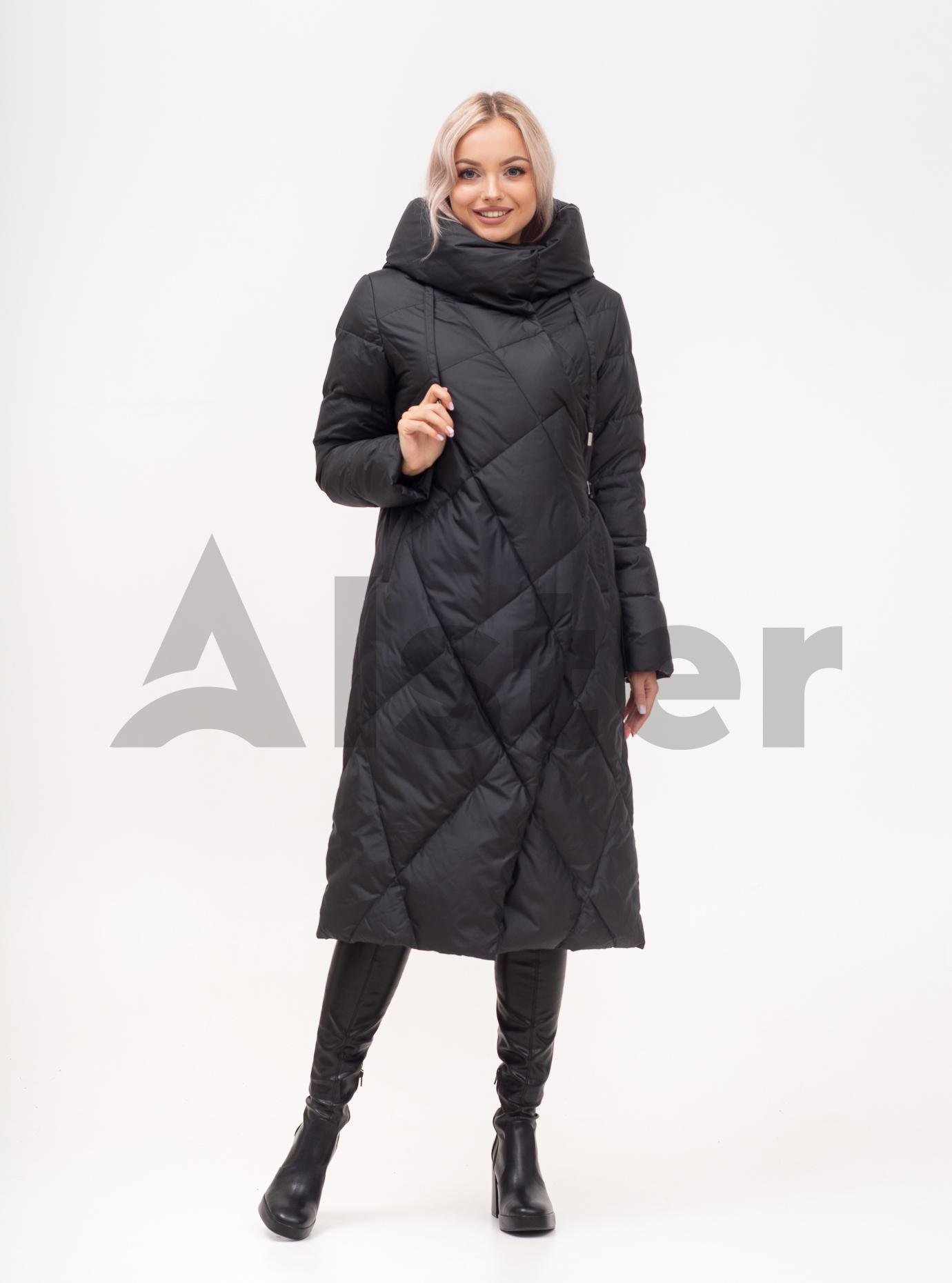 Пуховик зимний длинный с капюшоном Чёрный S (01-N200104): фото - Alster.ua