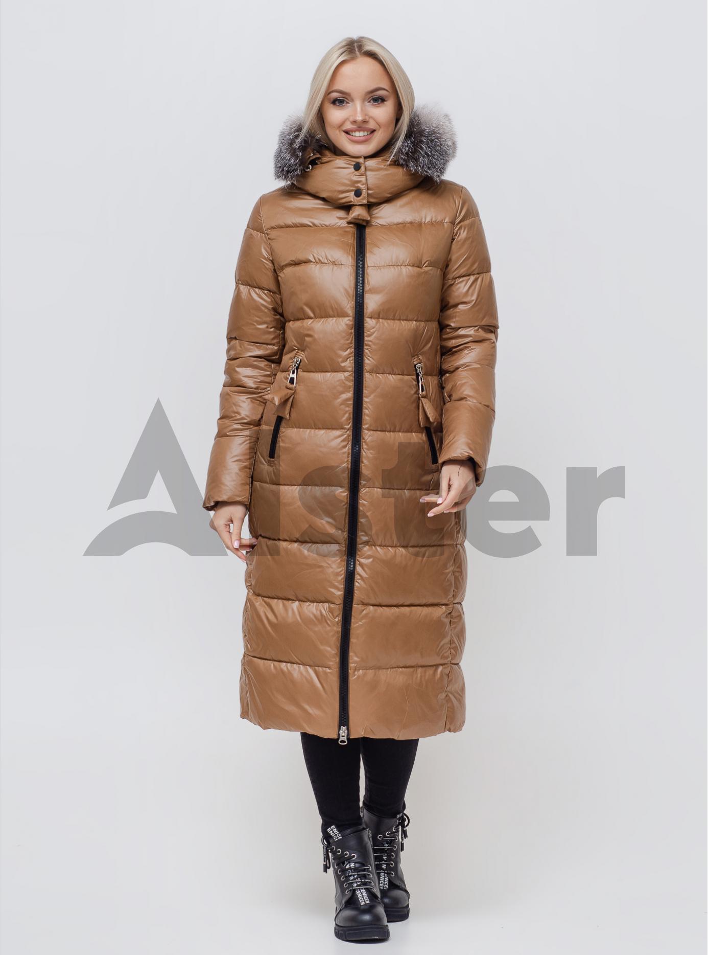 Куртка зимняя женская с мехом Светло-коричневый S (06-KL201115): фото - Alster.ua