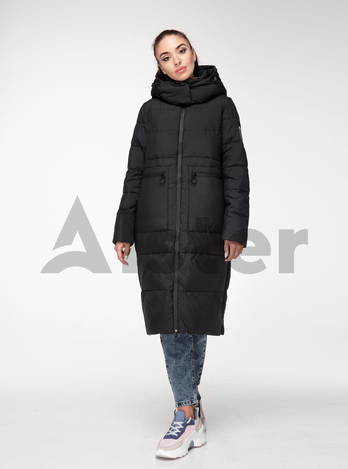 Куртка жіноча зимова довга Чорний M (05-T19088): фото - Alster.ua