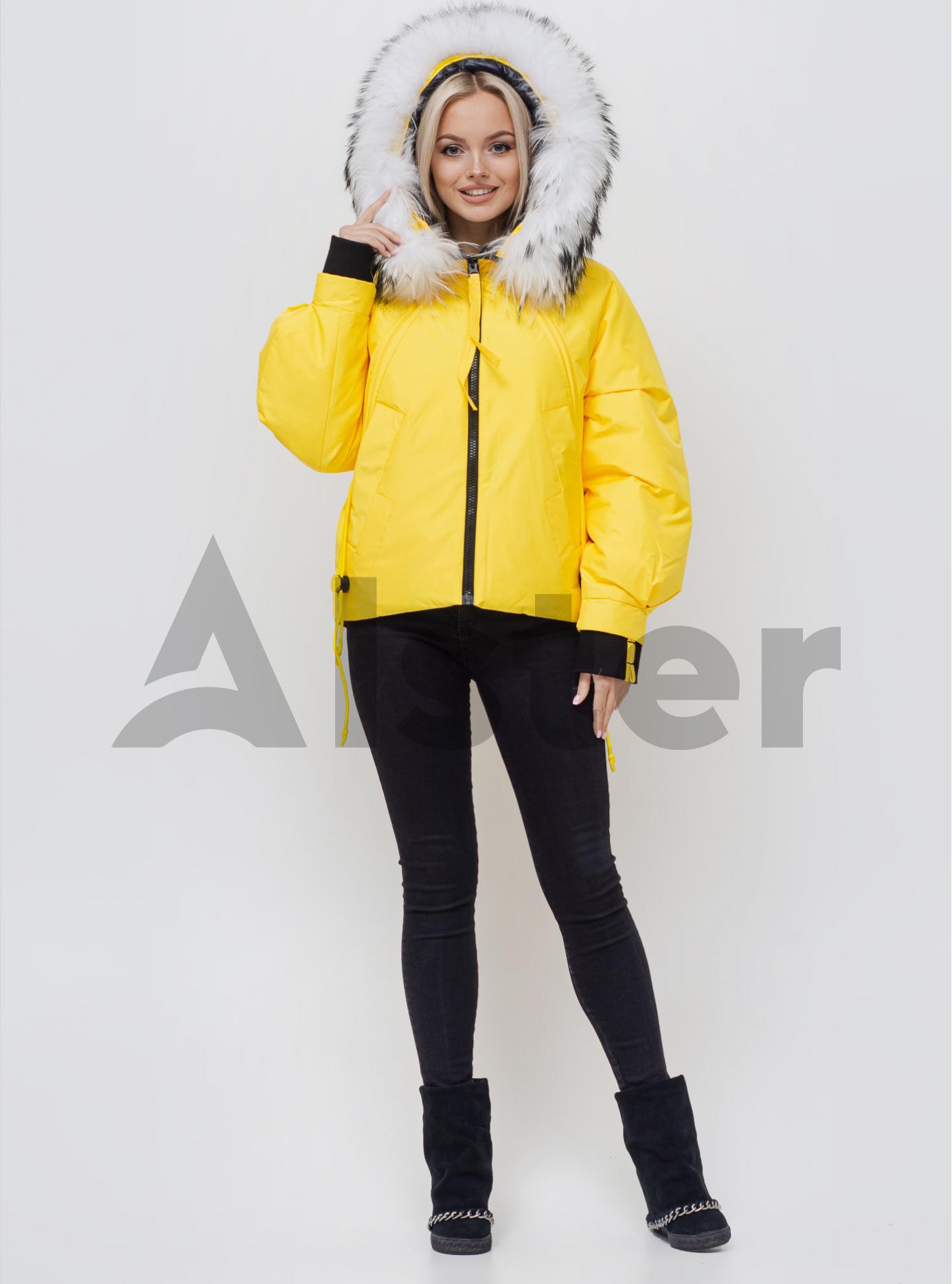 Женская зимняя куртка с мехом Жёлтый S (05-SV201053): фото - Alster.ua
