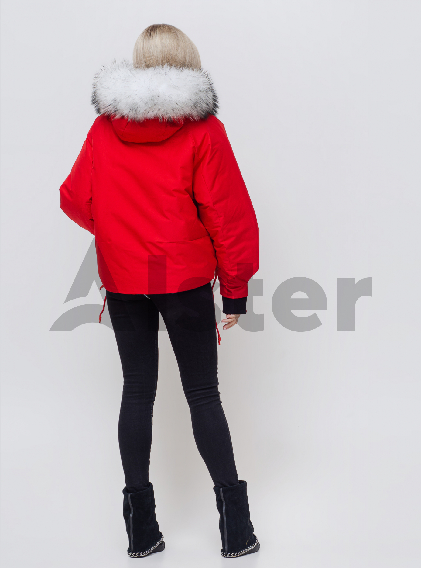 Жіноча зимова куртка з хутром Червоний L (05-SV201058): фото - Alster.ua