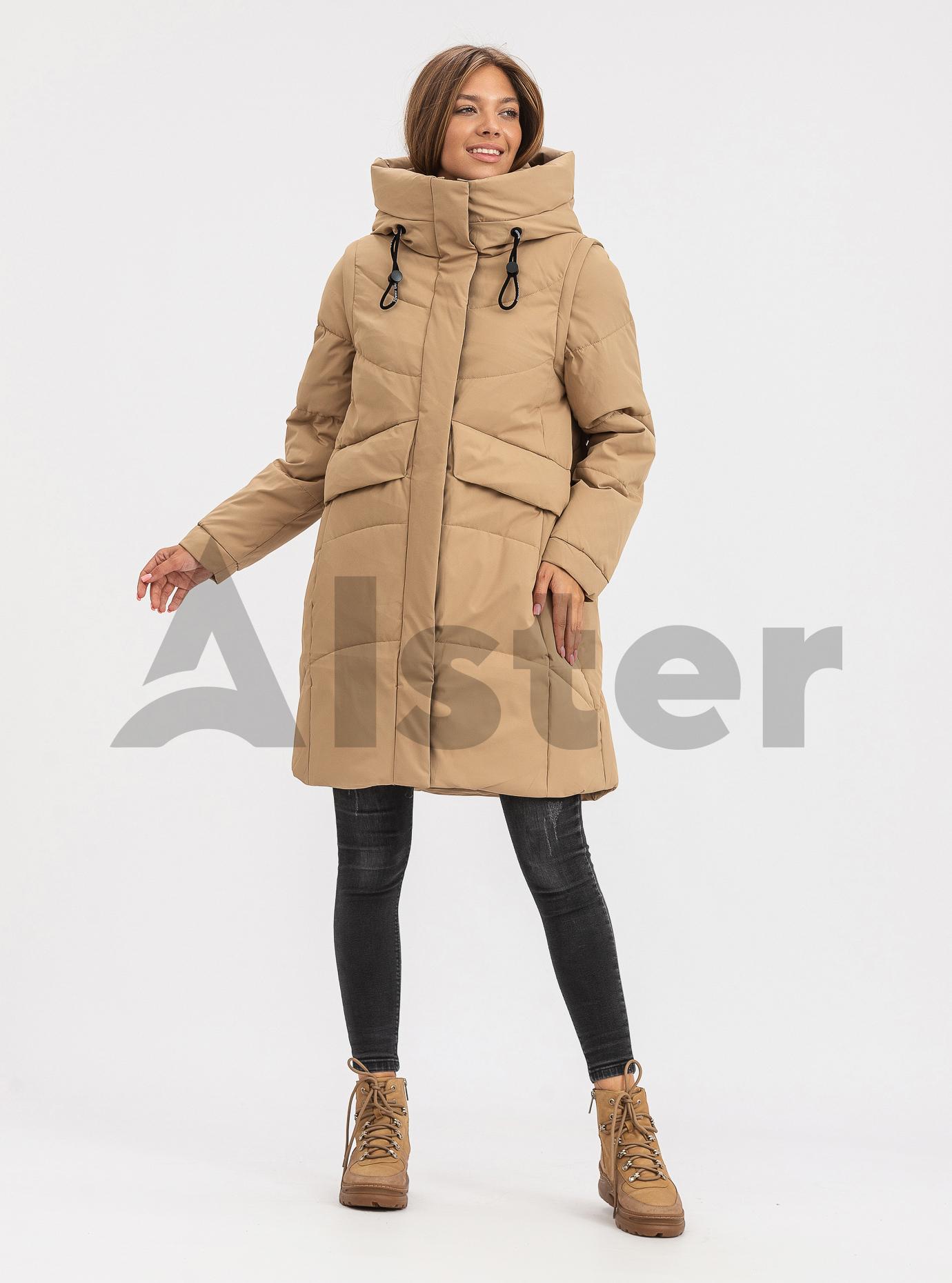 Жіноча зимова куртка трансформер TOWMY Темний бежевий L (TWM3223-13): фото - Alster.ua