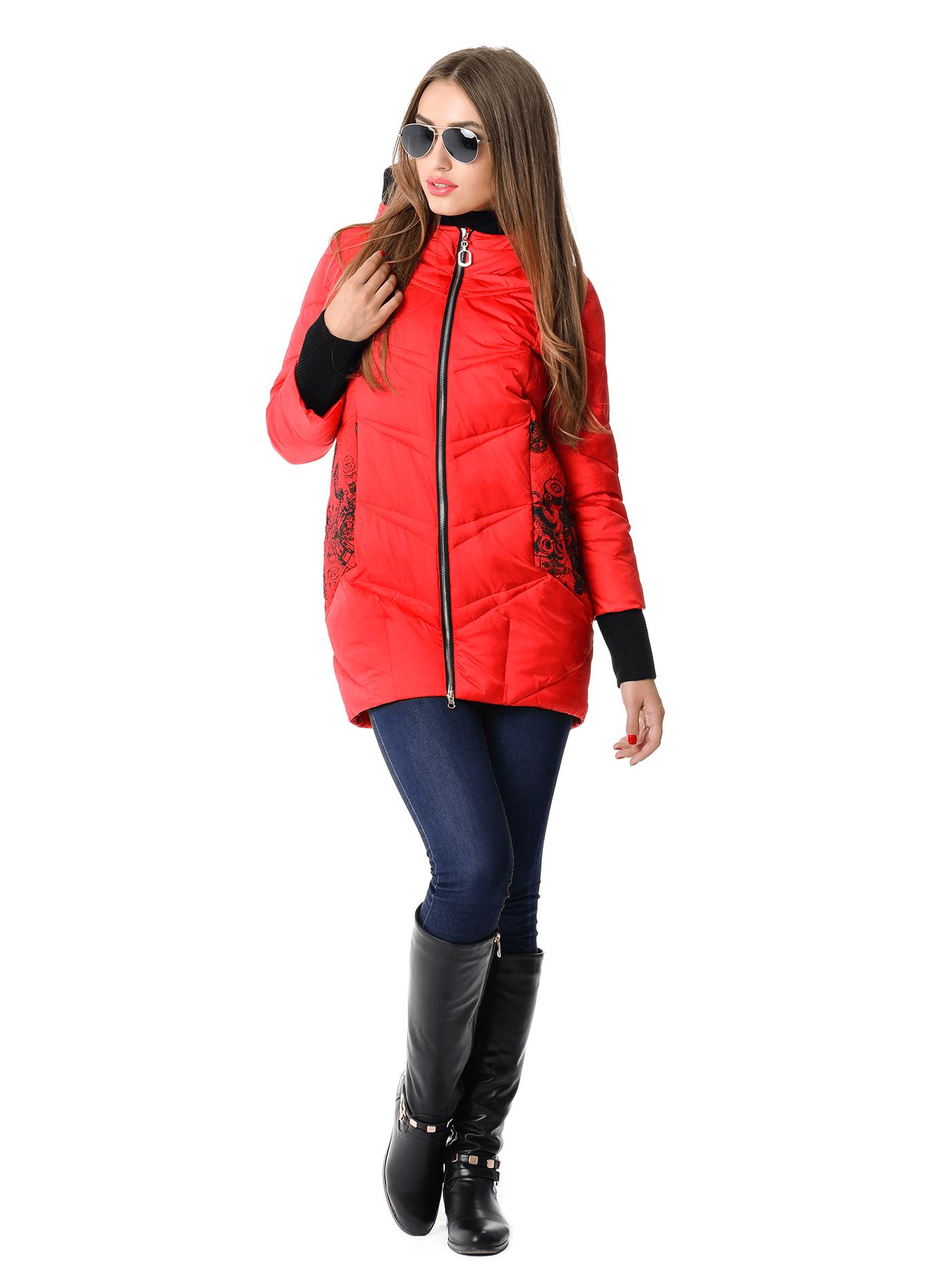 Куртка зимняя прямая средней длины Красный S (05-V191283): фото - Alster.ua