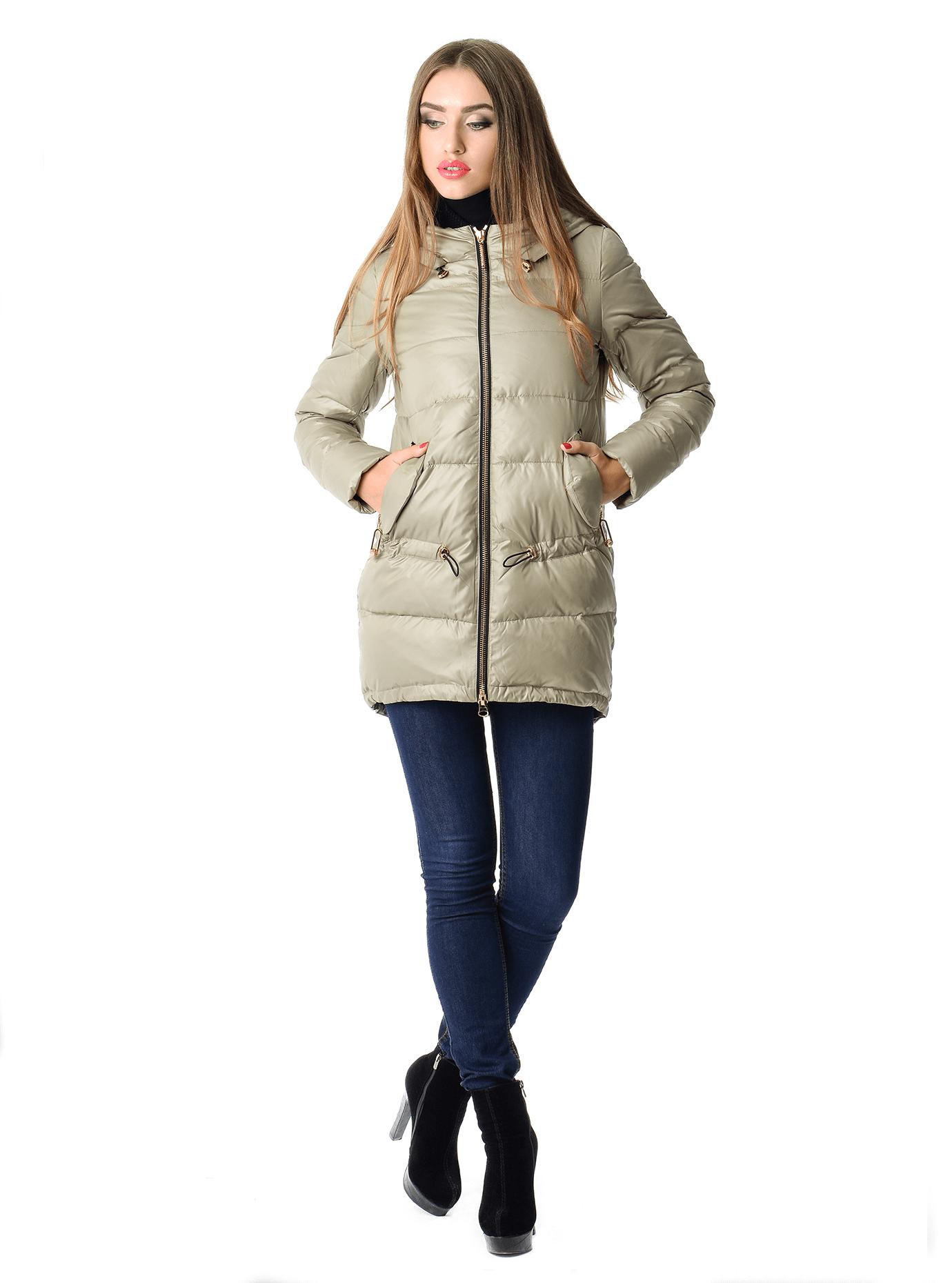 Куртка зимняя средней длины с капюшоном Бежевый S (05-V191284): фото - Alster.ua