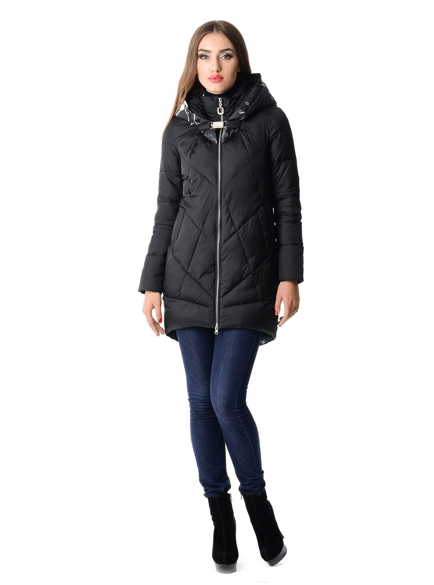Куртка зимняя средней длины Чёрный M (05-V191265): фото - Alster.ua