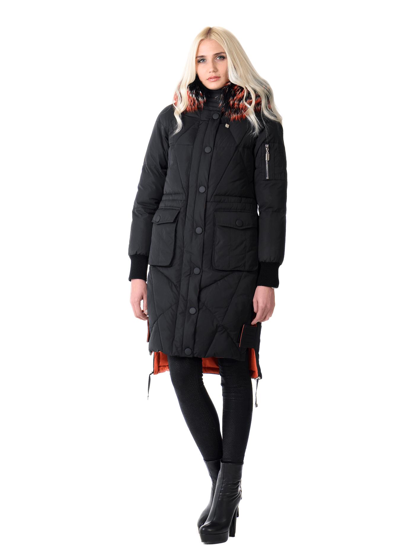 Куртка зимняя стеганая с мехом енота Чёрный S (05-V191293): фото - Alster.ua