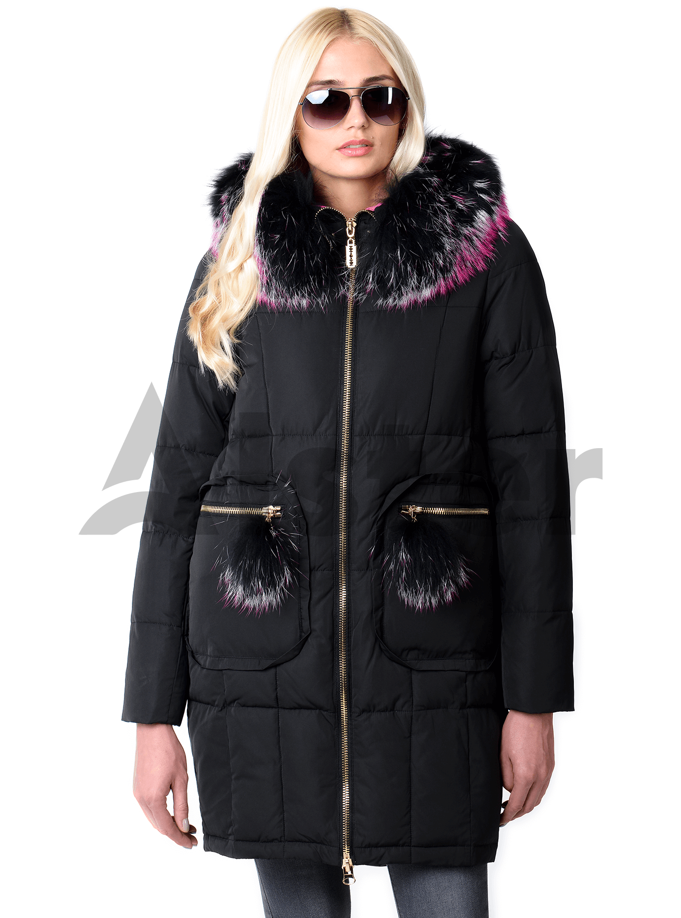 Куртка зимняя на молнии с мехом енота Чёрный S (05-V191294): фото - Alster.ua