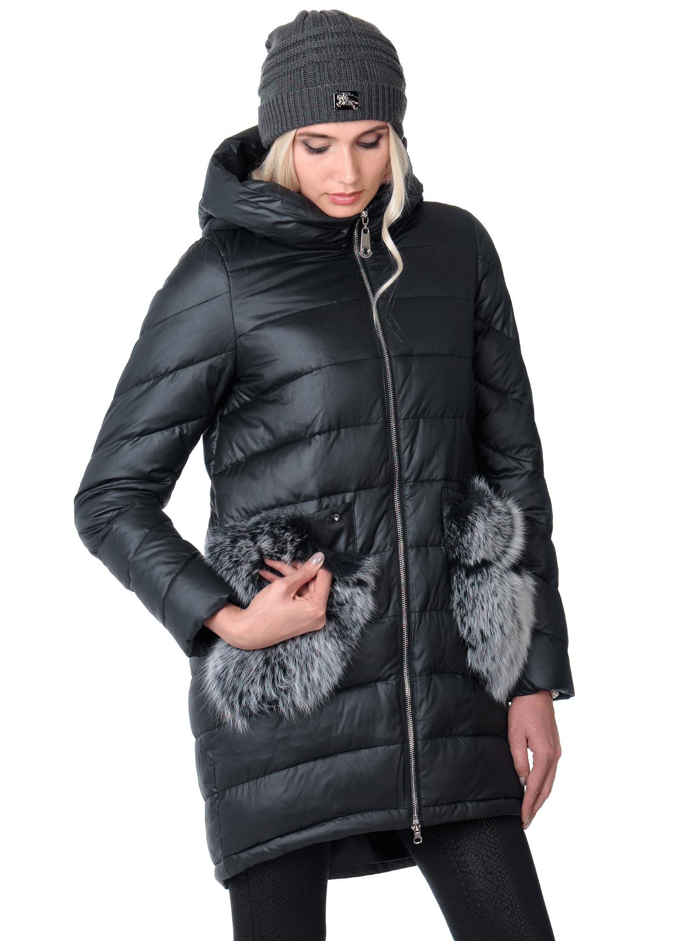 Куртка зимняя с карманами из меха енота Чёрный S (05-V191292): фото - Alster.ua