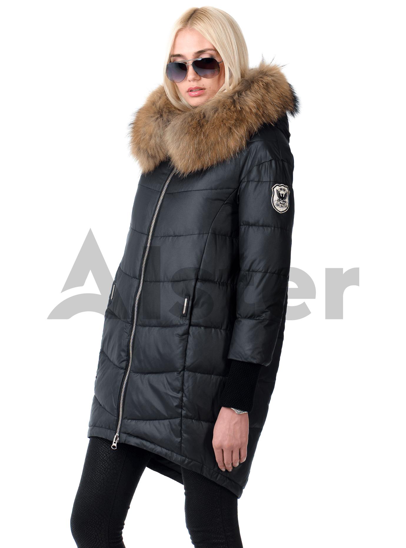 Куртка зимняя с манжетами и мехом енота Синий S (05-V191285): фото - Alster.ua