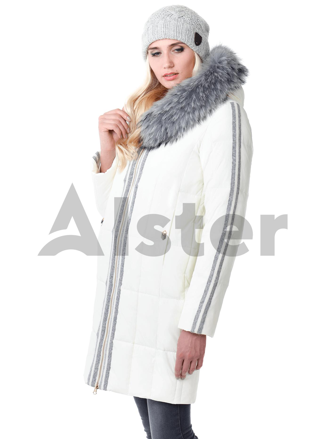 Куртка зимняя с мехом енота на капюшоне Белый S (05-V191291): фото - Alster.ua