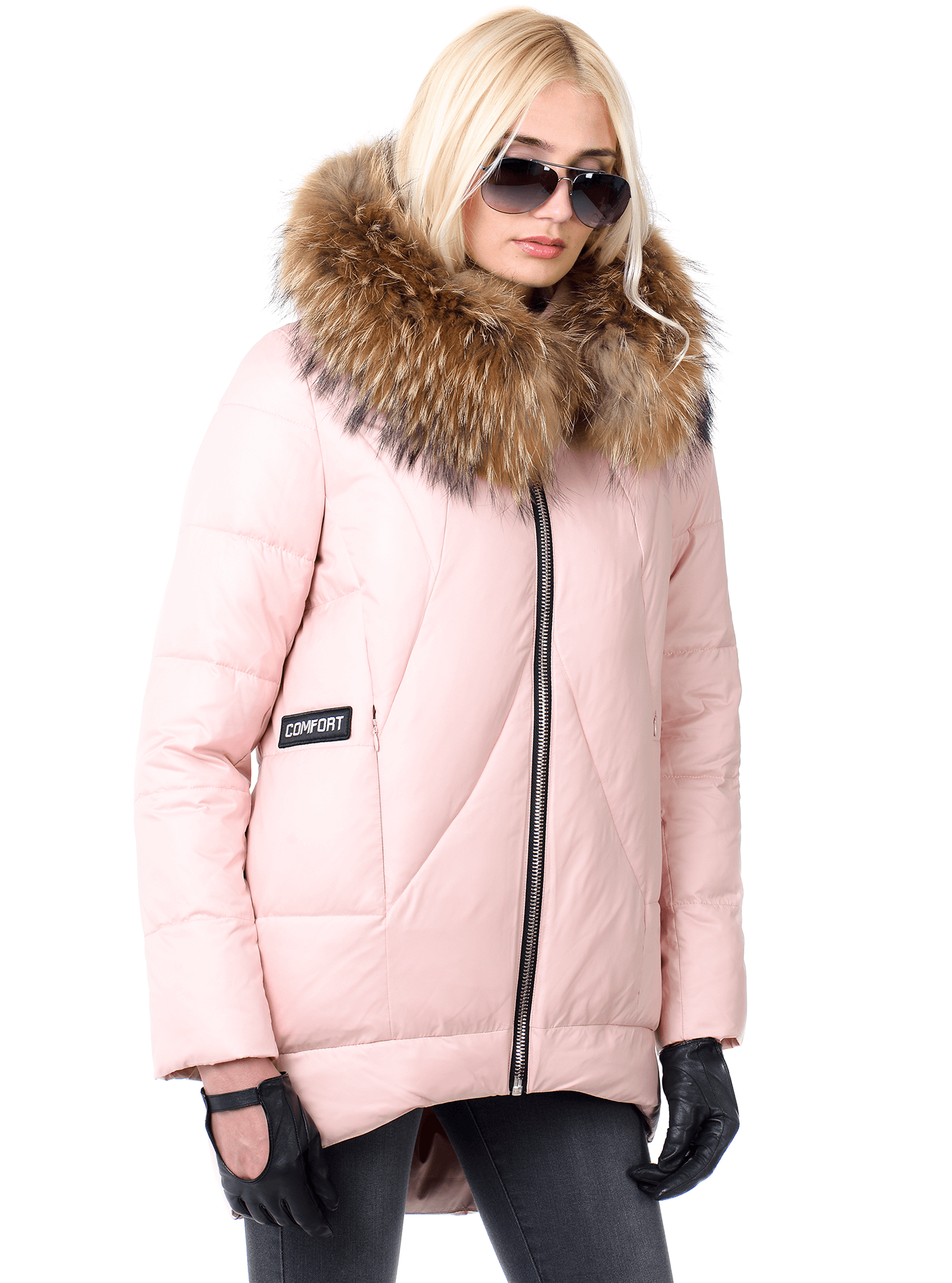 Куртка средней длины с натуральным мехом енота Розовый S (05-V191288): фото - Alster.ua