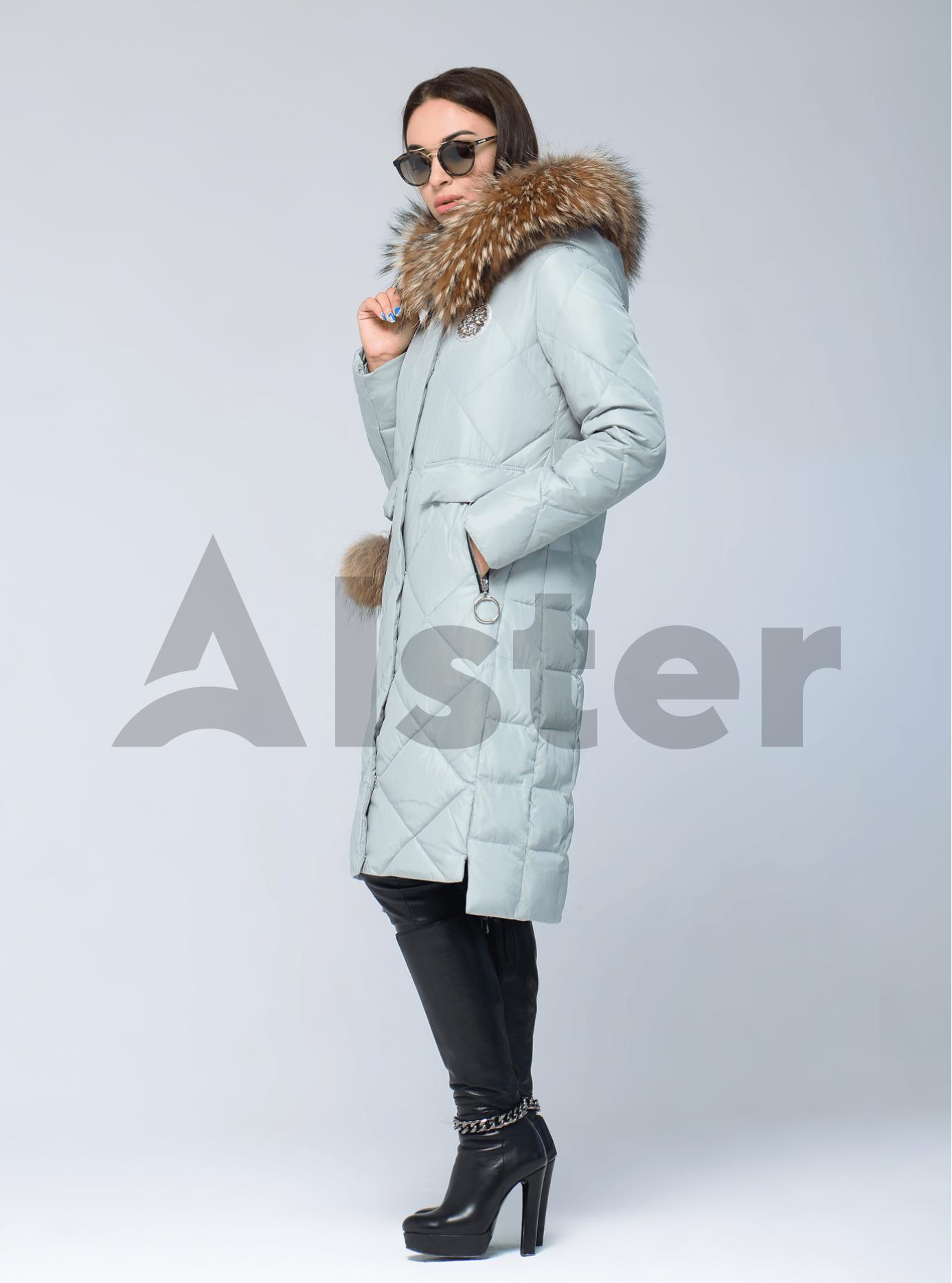 Куртка зимняя с меховой опушкой и брелоком Голубой L (05-V191250): фото - Alster.ua