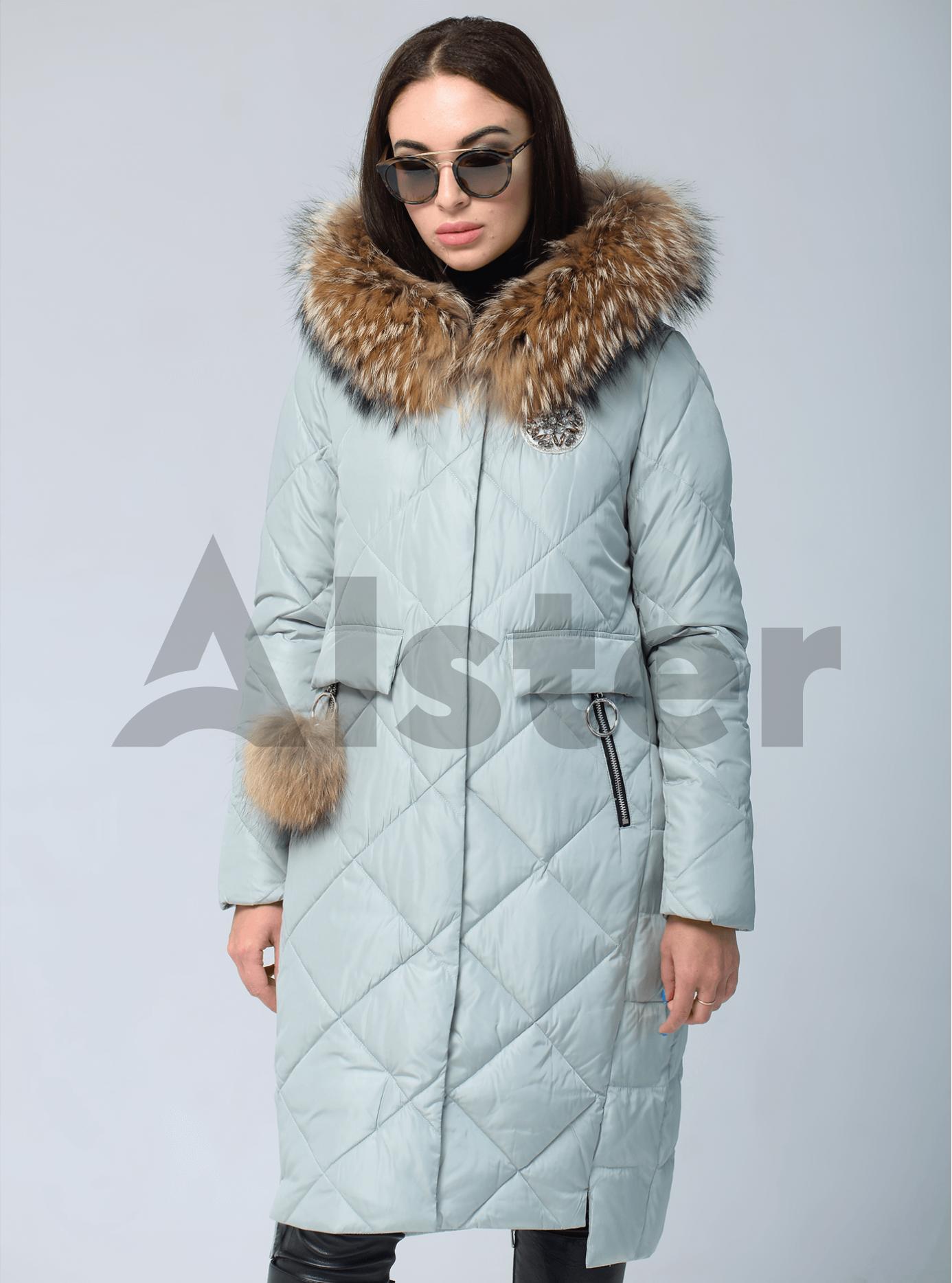 Куртка зимняя с меховой опушкой и брелоком Голубой S (05-V191249): фото - Alster.ua