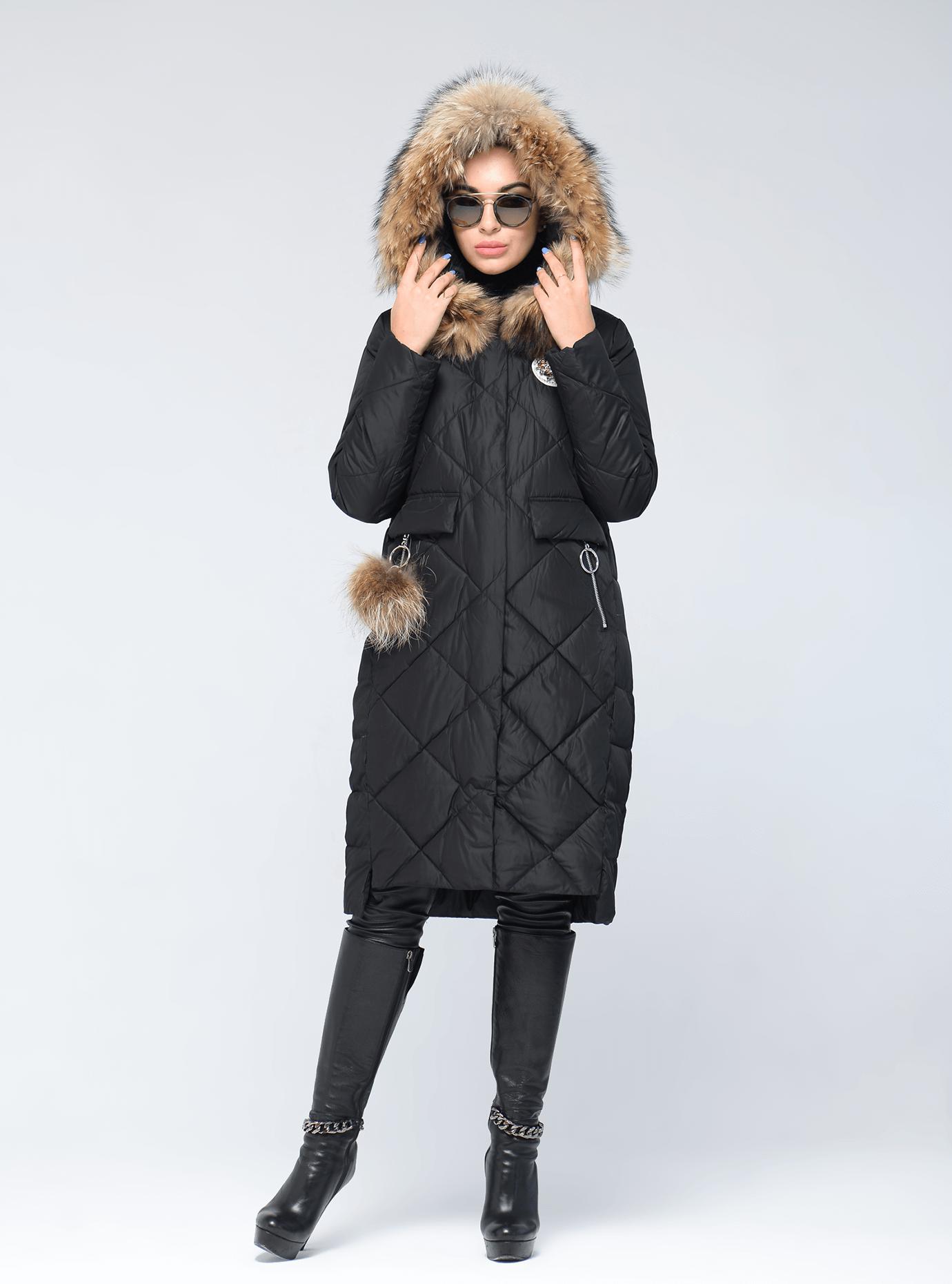 Куртка зимняя с меховой опушкой и брелоком Чёрный S (05-V191270): фото - Alster.ua