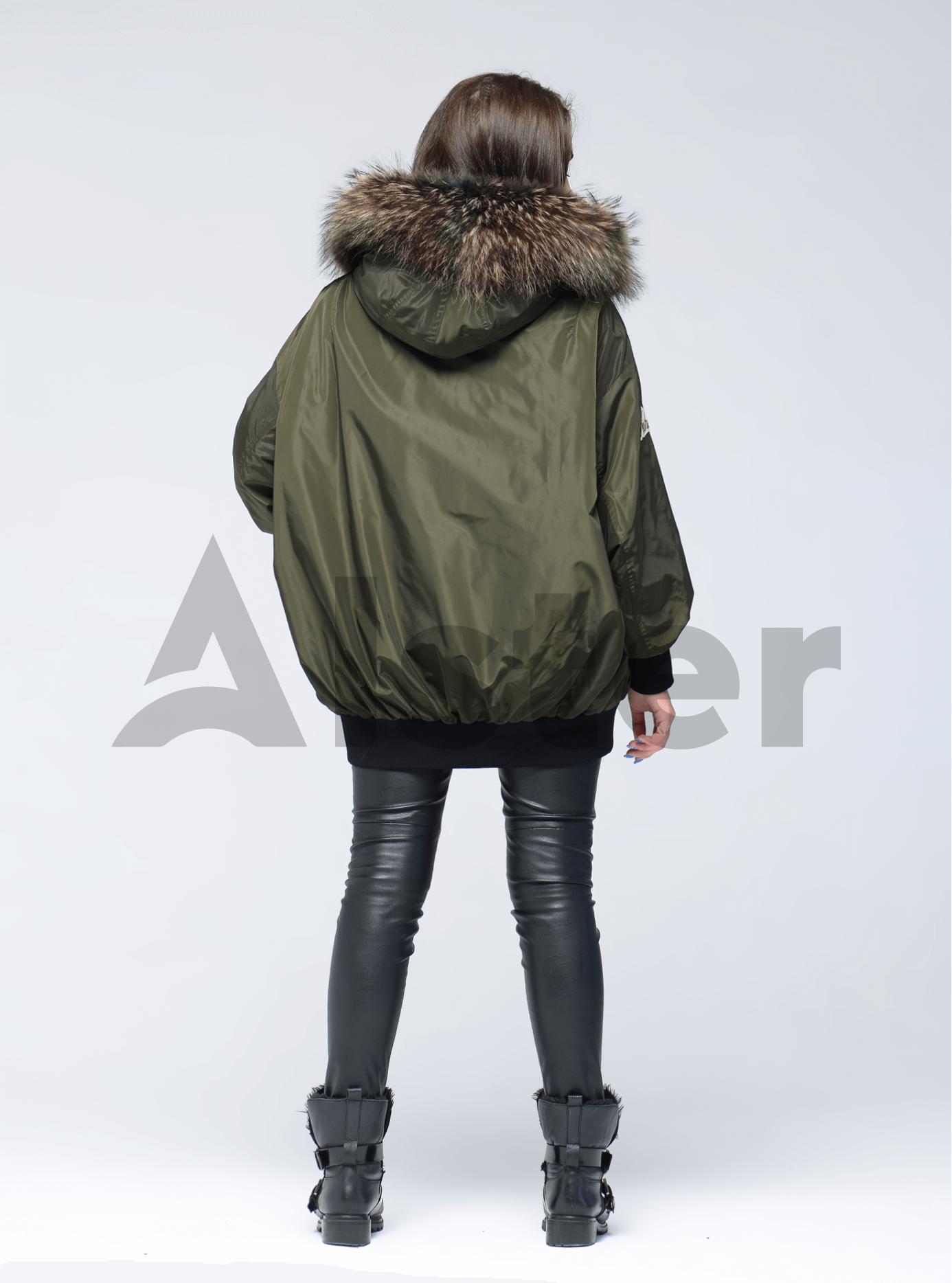Куртка зимняя оверсайз с мехом енота Хаки S (05-V191273): фото - Alster.ua