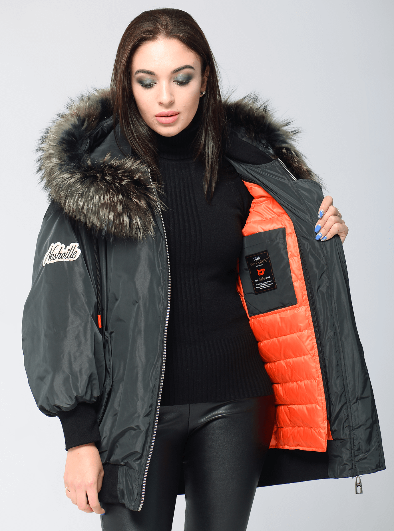 Куртка зимняя оверсайз с мехом енота Тёмно-зелёный S (05-V191272): фото - Alster.ua