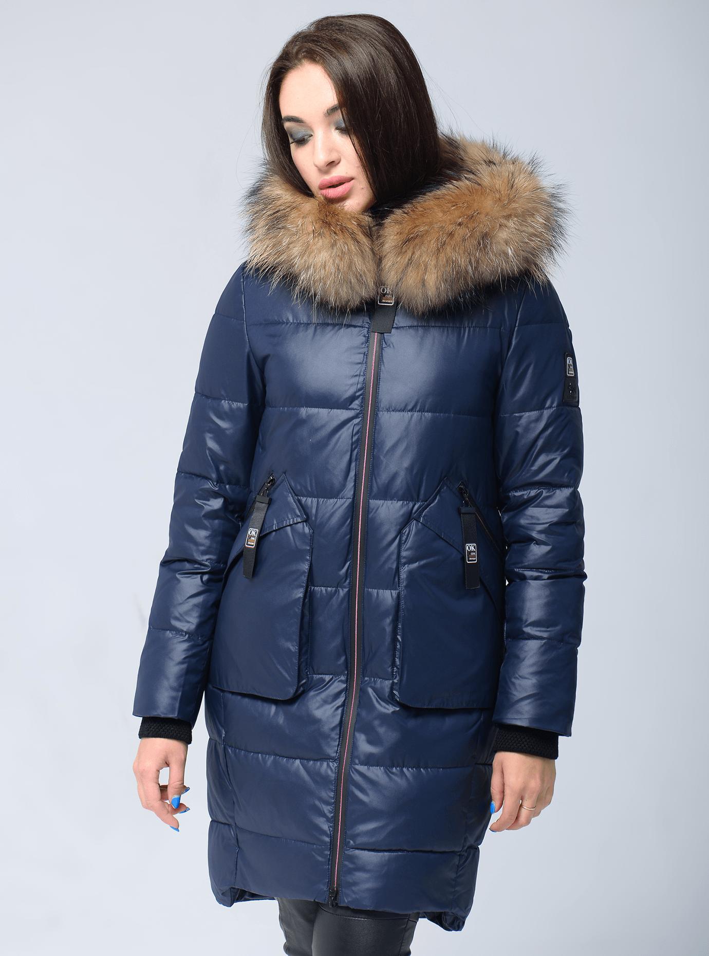 Куртка зимняя прямая с мехом енота Синий S (05-V191276): фото - Alster.ua