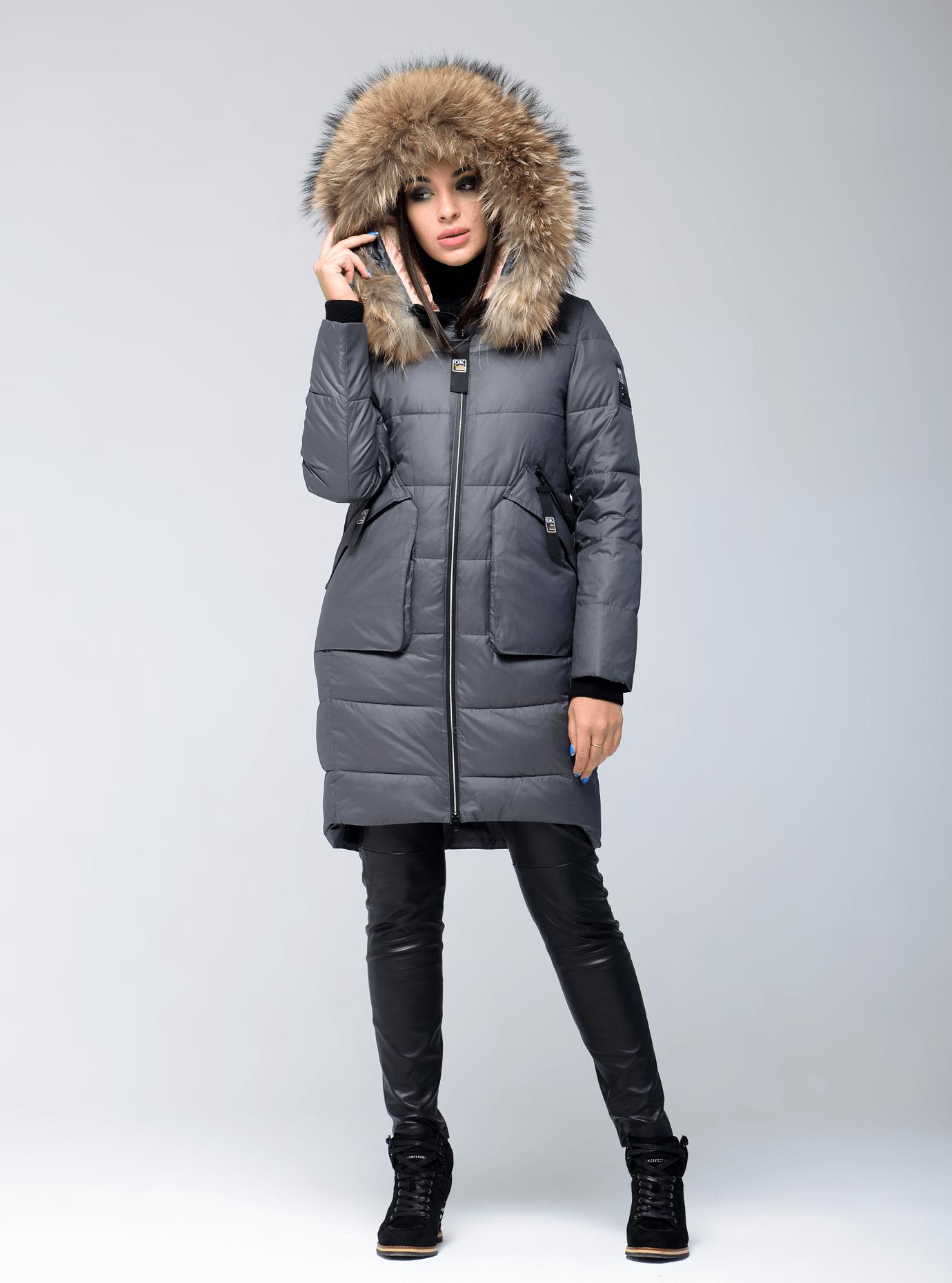 Куртка зимняя прямая с мехом енота Графитовый S (05-V191287): фото - Alster.ua